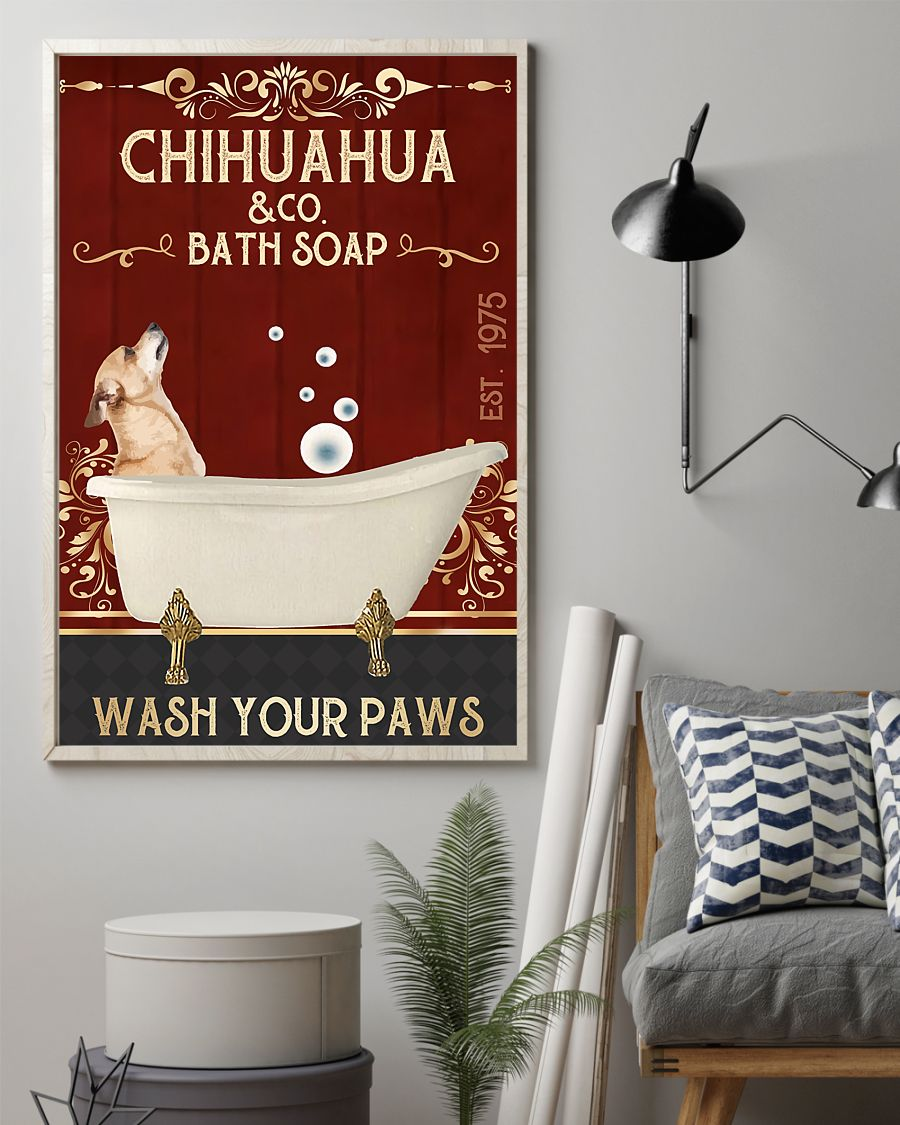 vintage dog chihuahua company bath soap wash your paws poster 2