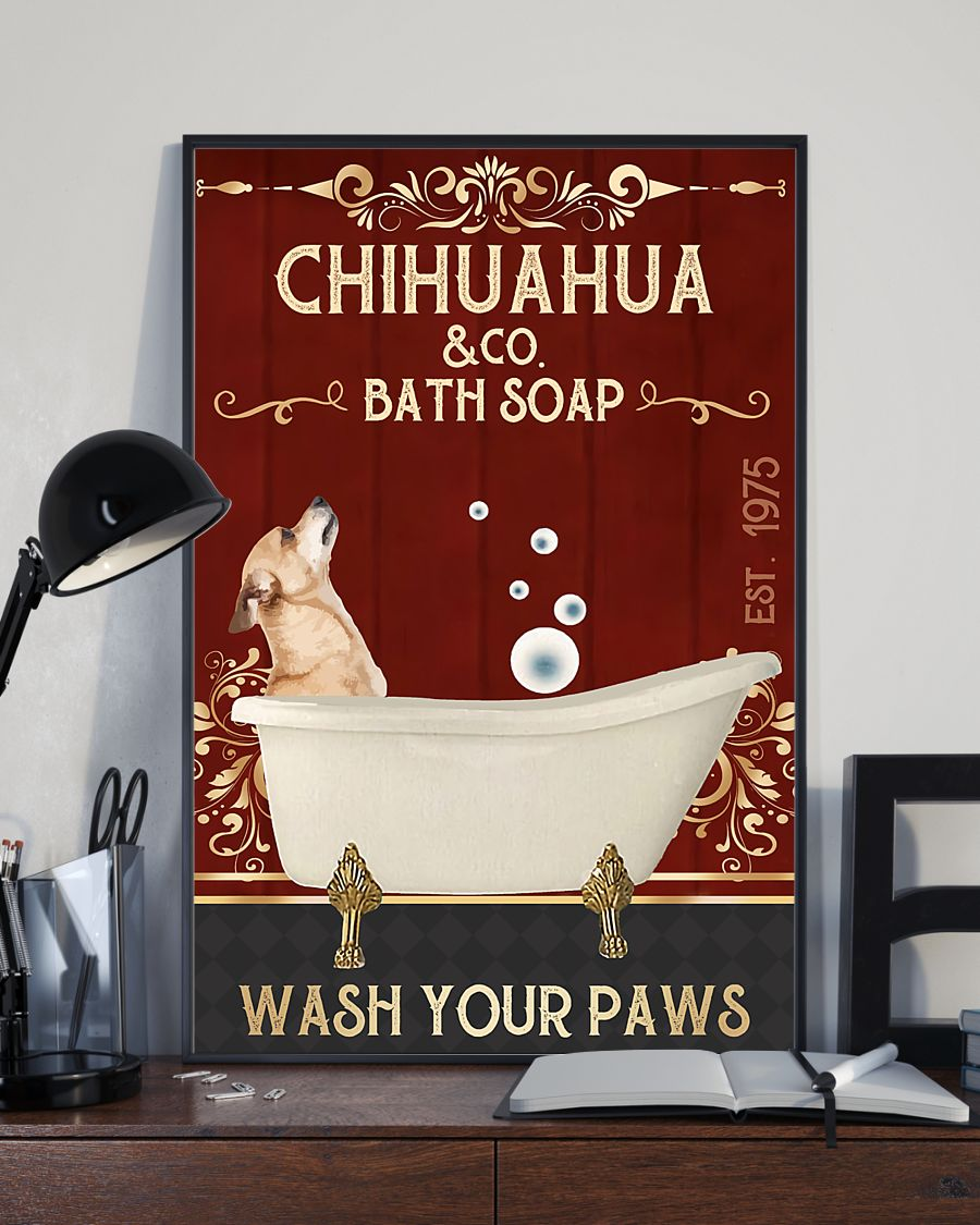 vintage dog chihuahua company bath soap wash your paws poster 3