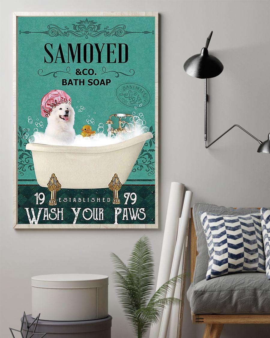 vintage dog samoyed bath soap wash your paws poster 2