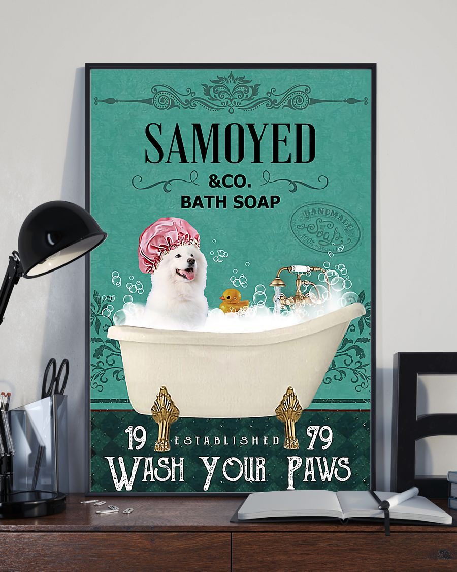 vintage dog samoyed bath soap wash your paws poster 4