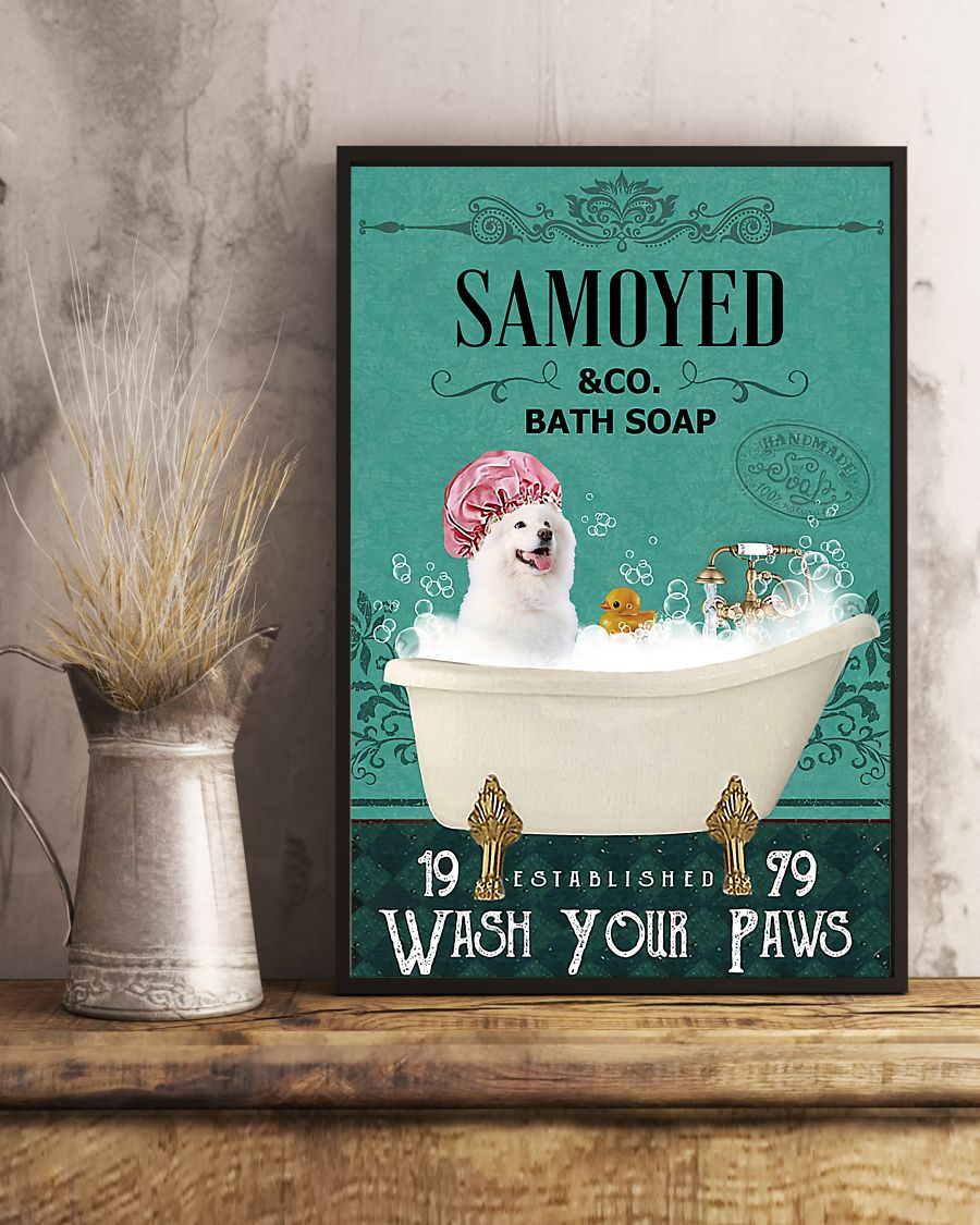 vintage dog samoyed bath soap wash your paws poster 5