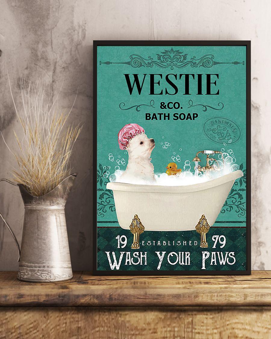 vintage dog westie bath soap wash your paws poster 5