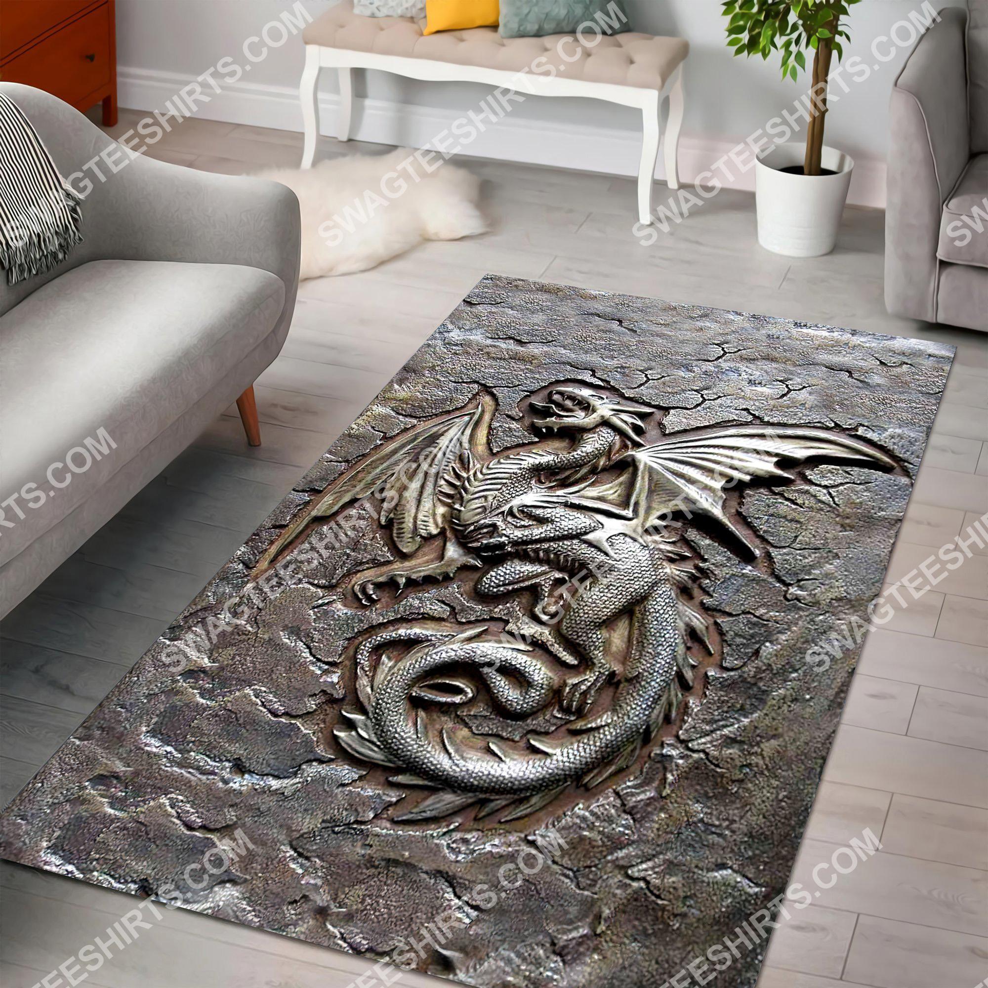vintage dragon cracks metal all over printed rug 2(1)