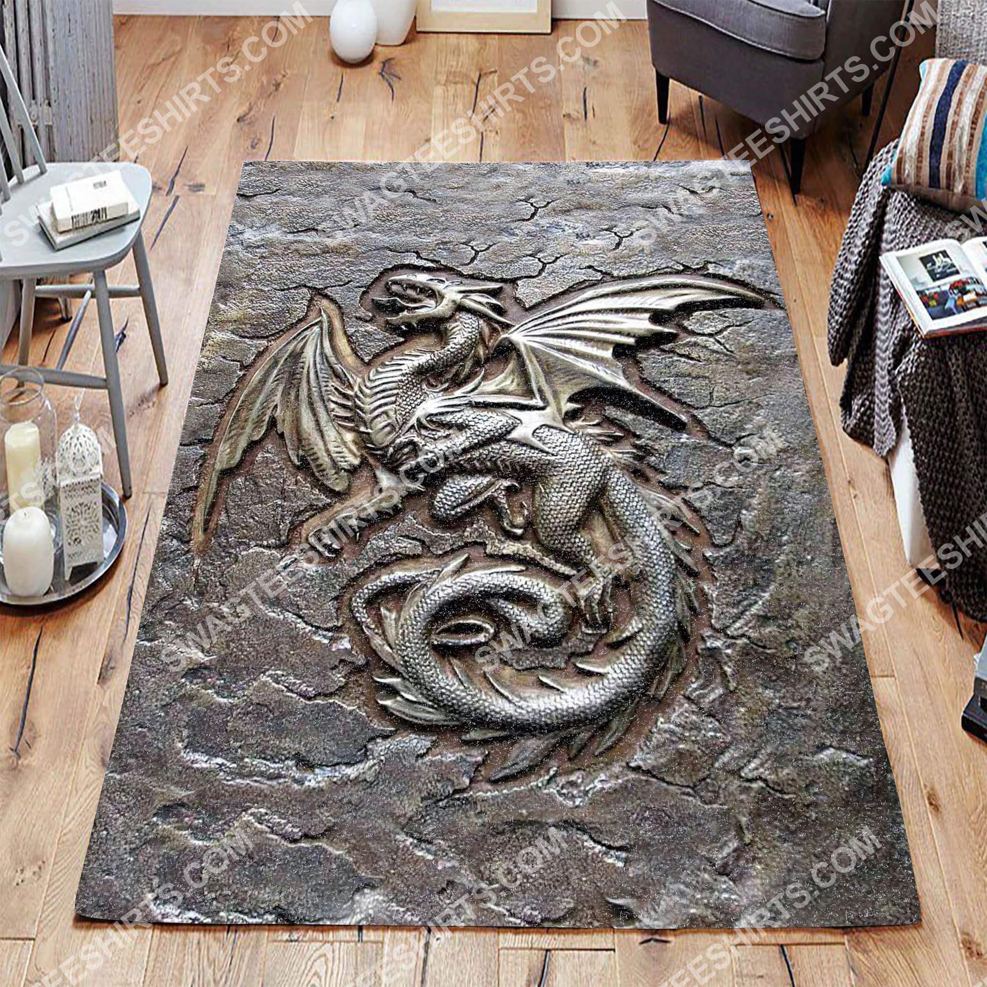 vintage dragon cracks metal all over printed rug 3(1)