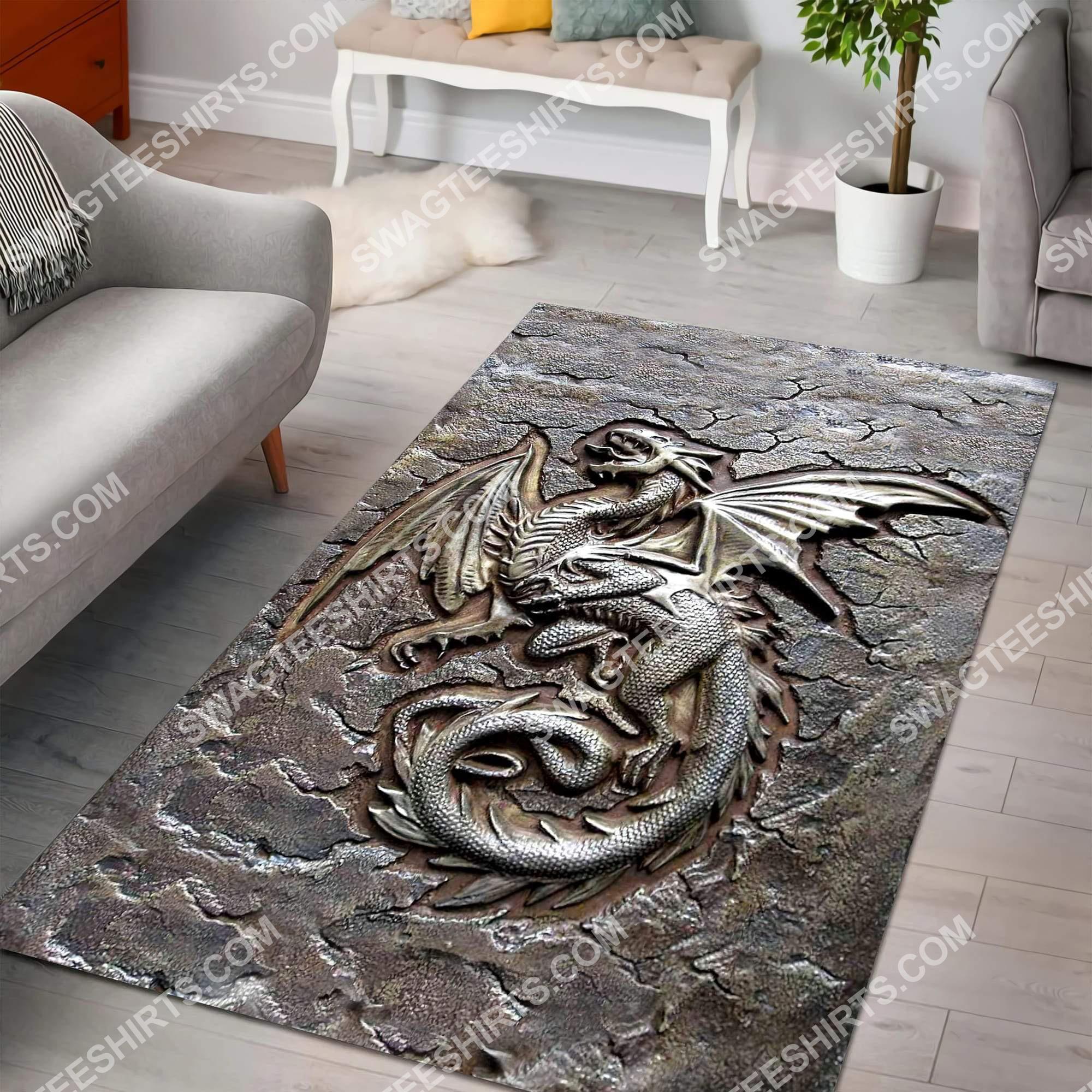 vintage dragon cracks metal all over printed rug 4(1)