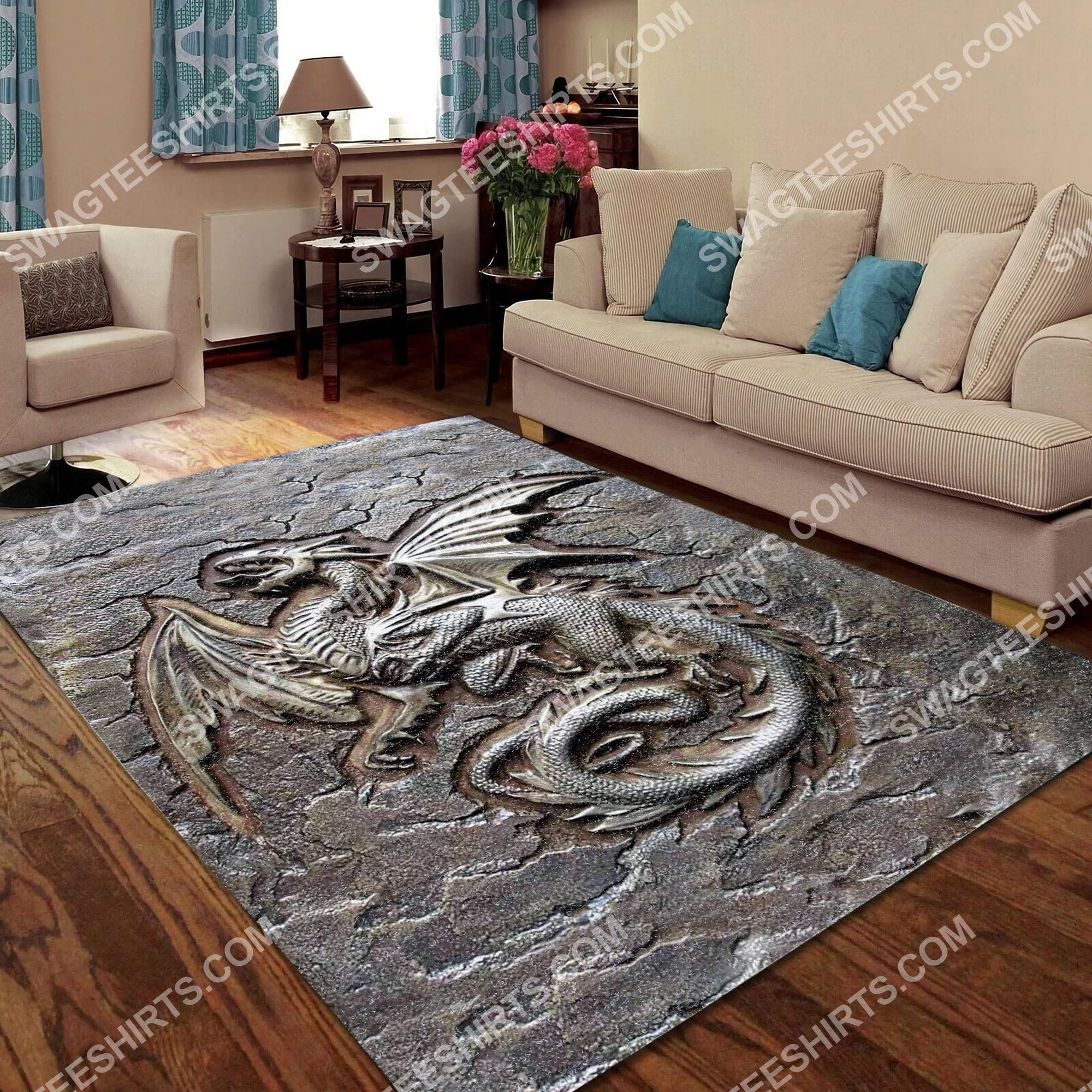 vintage dragon cracks metal all over printed rug 5(1)