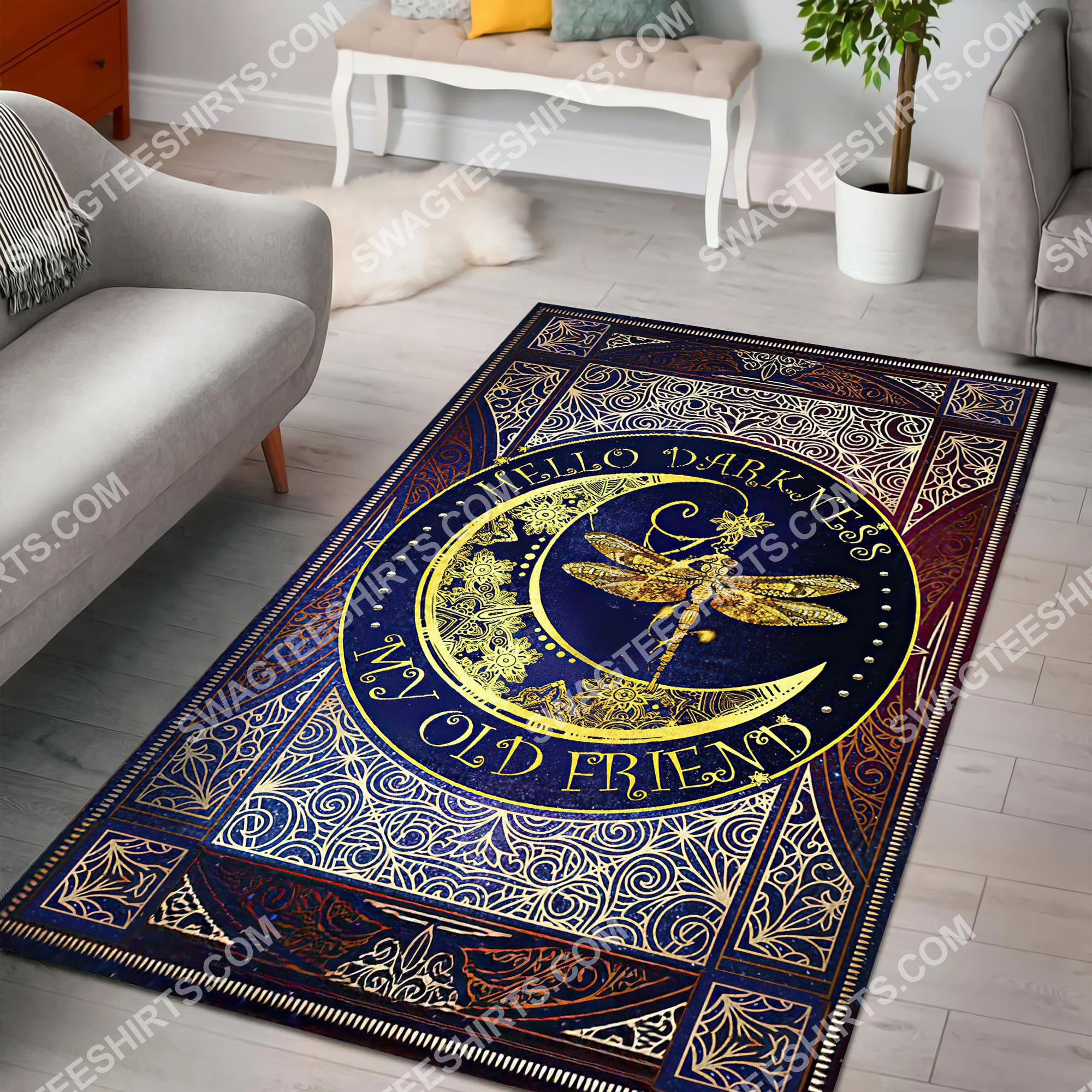 vintage dragonfly sun and moon wicca all over printed rug 2(1)