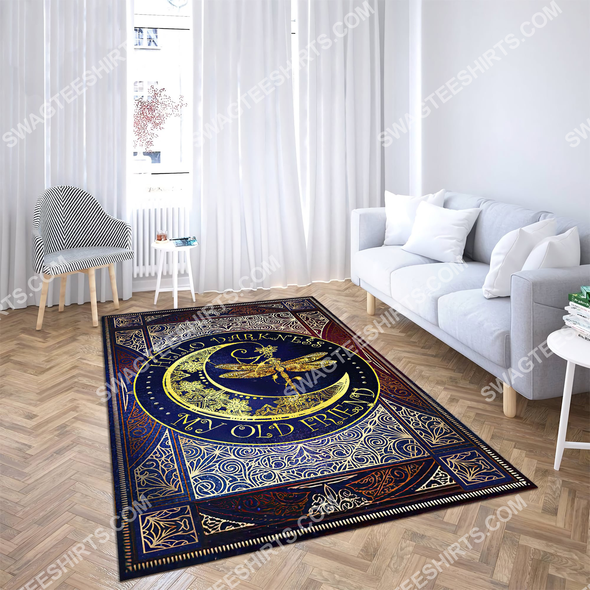 vintage dragonfly sun and moon wicca all over printed rug 3(1)