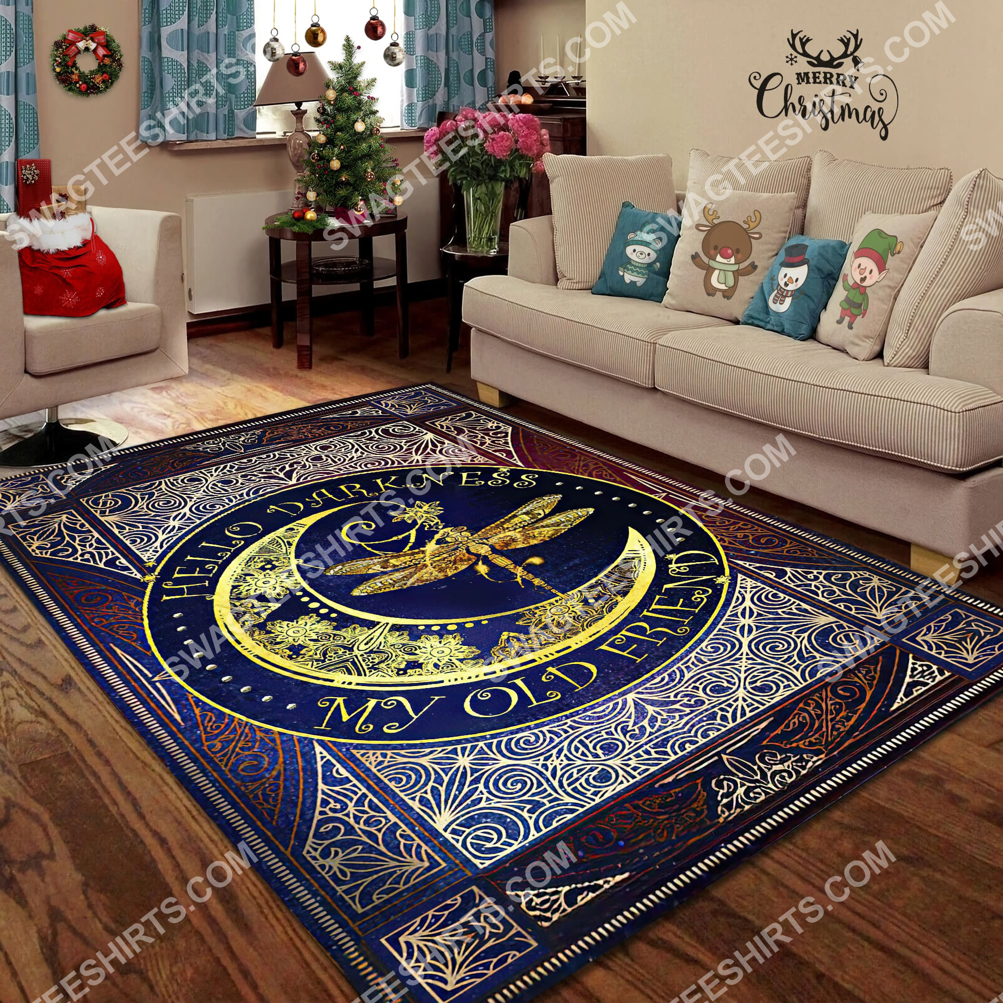 vintage dragonfly sun and moon wicca all over printed rug 4(1)