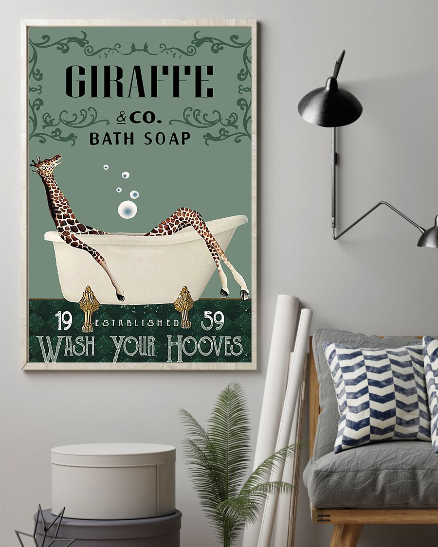 vintage giraffe company bath soap wash your hooves poster 2