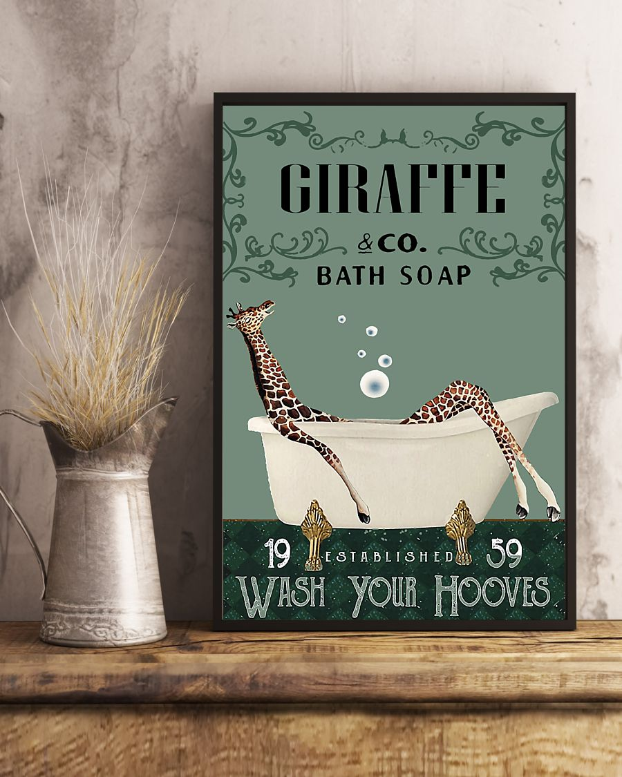 vintage giraffe company bath soap wash your hooves poster 5