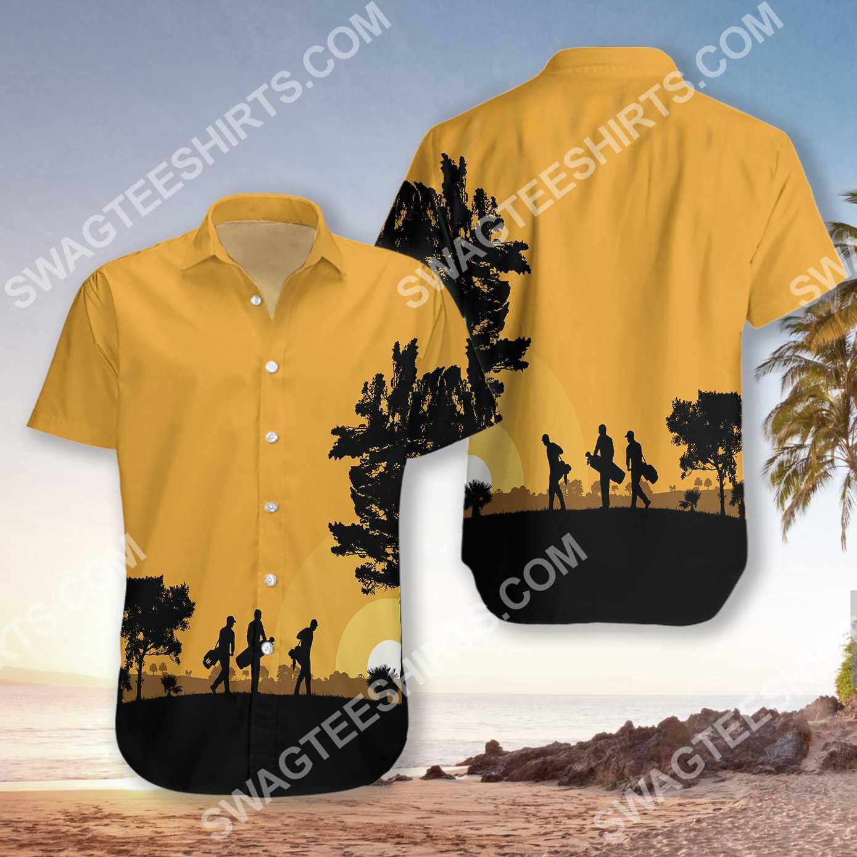 vintage golfers at dusk all over printed hawaiian shirt 2(1)