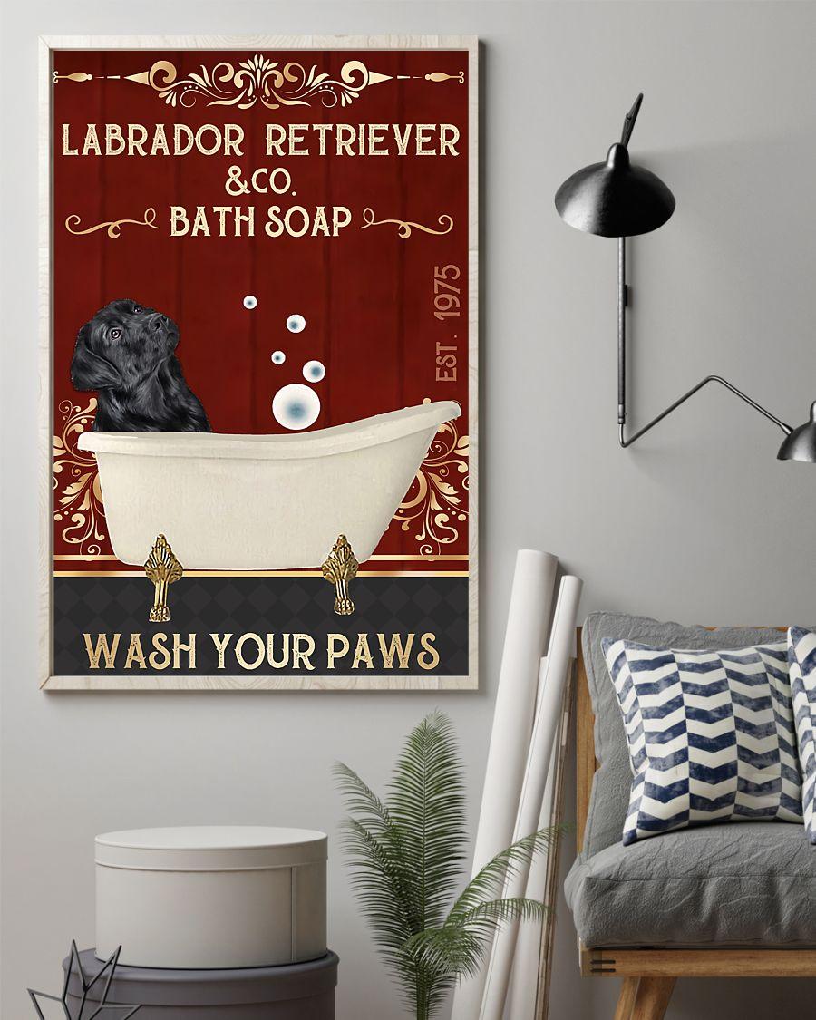 vintage labrador retriever company bath soap wash your paws poster 2