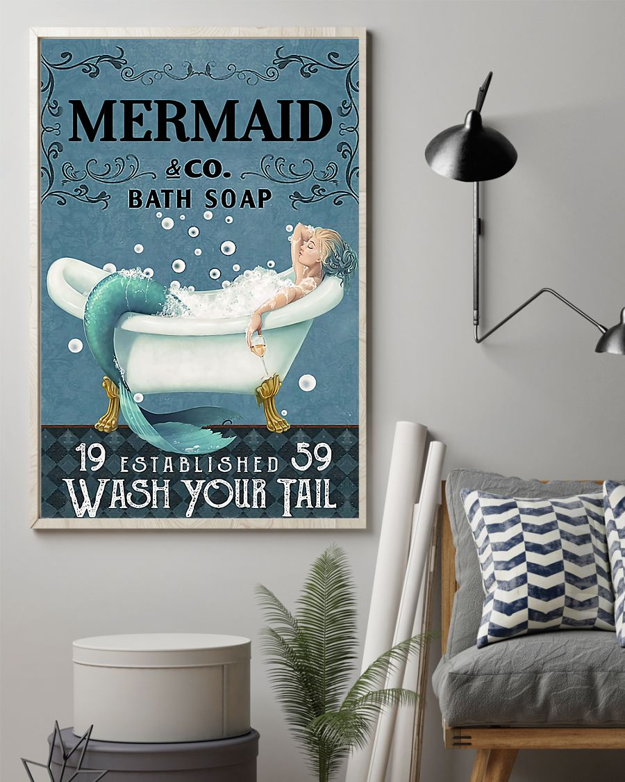 vintage mermaid company bath soap wash your tail poster 2