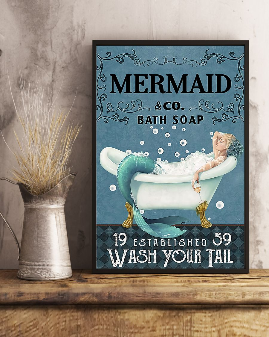 vintage mermaid company bath soap wash your tail poster 5