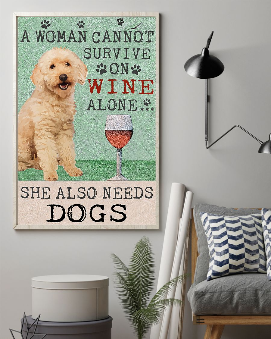 vintage poodle a woman cannot survive on wine alone poster 2