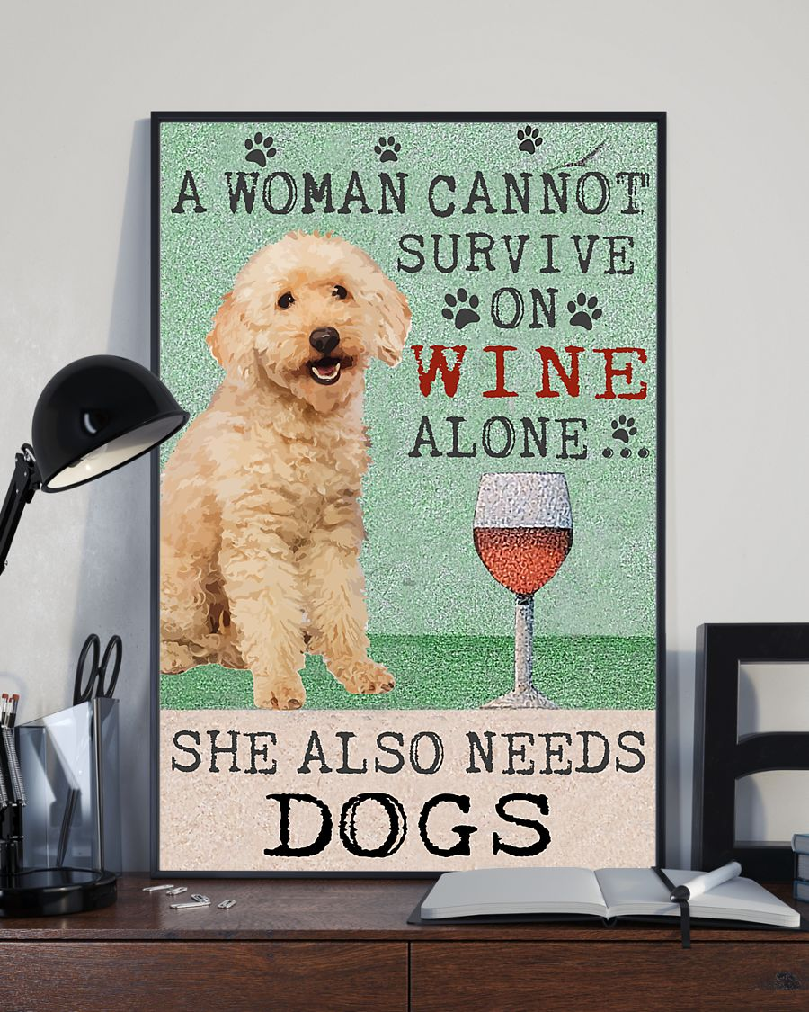 vintage poodle a woman cannot survive on wine alone poster 3