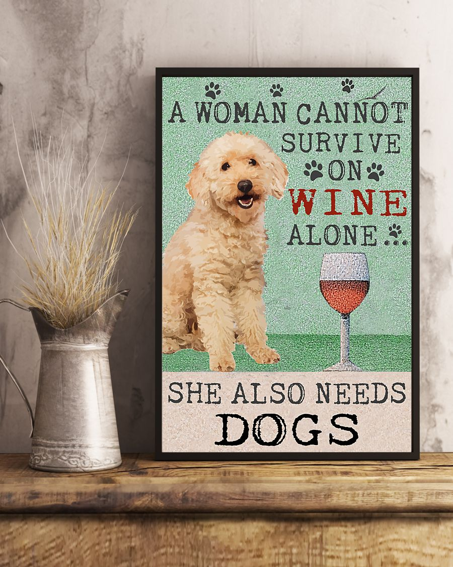 vintage poodle a woman cannot survive on wine alone poster 5