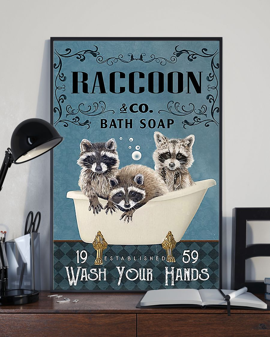 vintage raccoon bath soap wash your paws poster 3