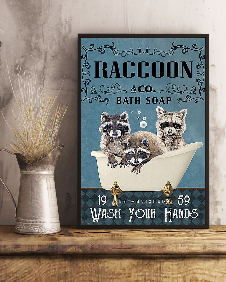 vintage raccoon bath soap wash your paws poster 5