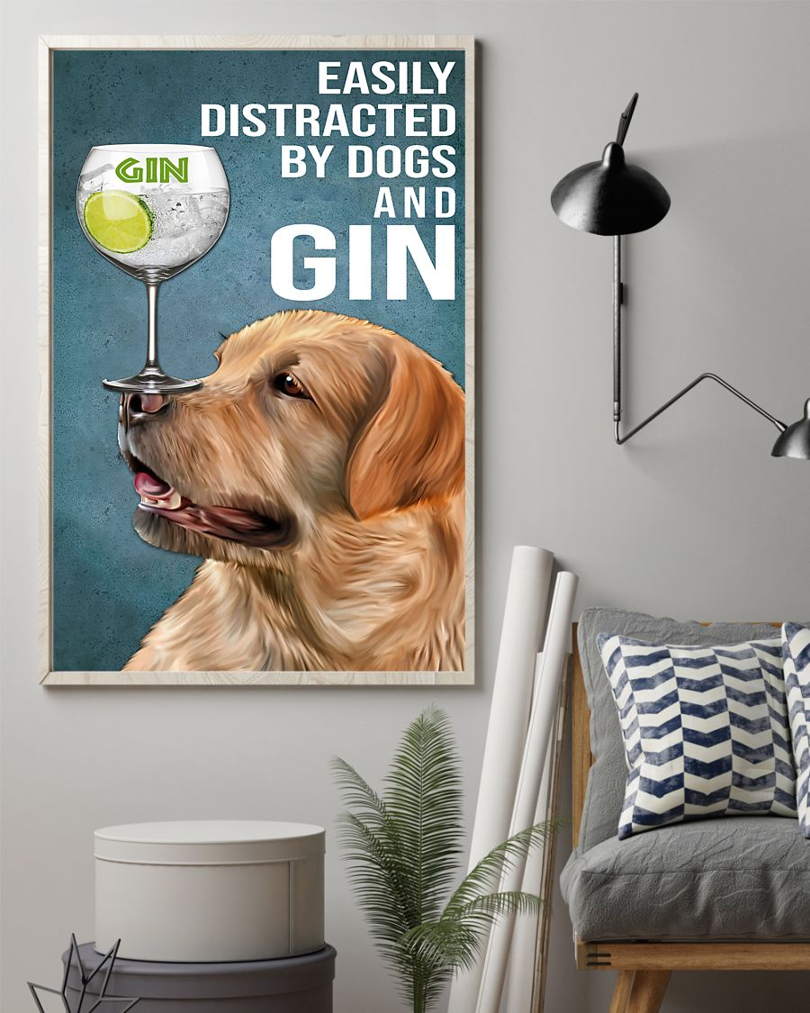 vintage red fox labrador easily distracted by dogs and gin poster 2
