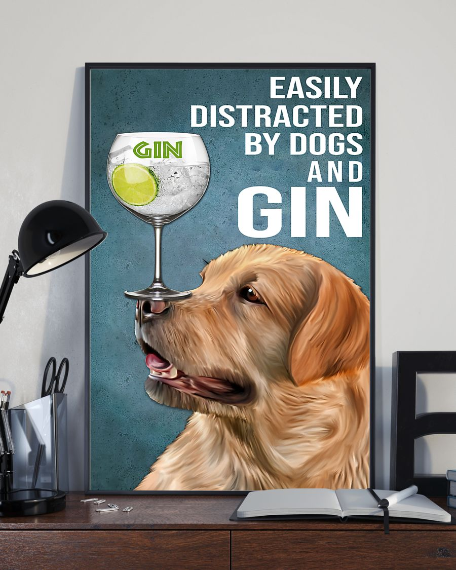 vintage red fox labrador easily distracted by dogs and gin poster 4