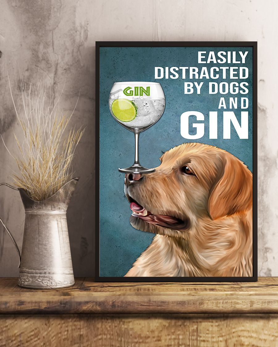 vintage red fox labrador easily distracted by dogs and gin poster 5