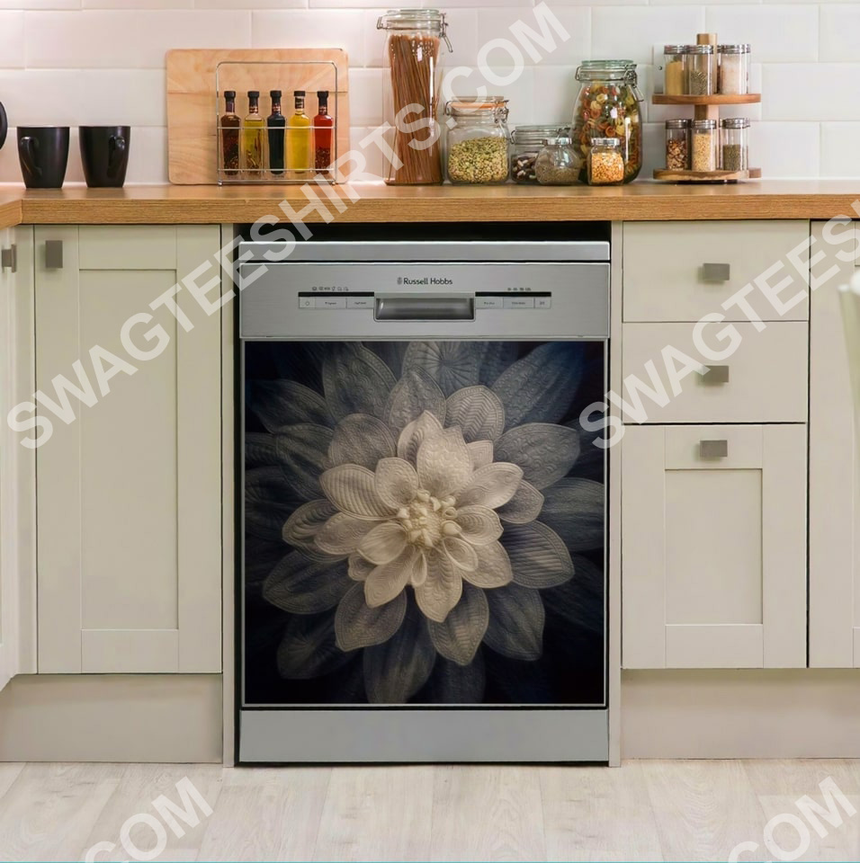 white flower kitchen decorative dishwasher magnet cover 2 - Copy (2)