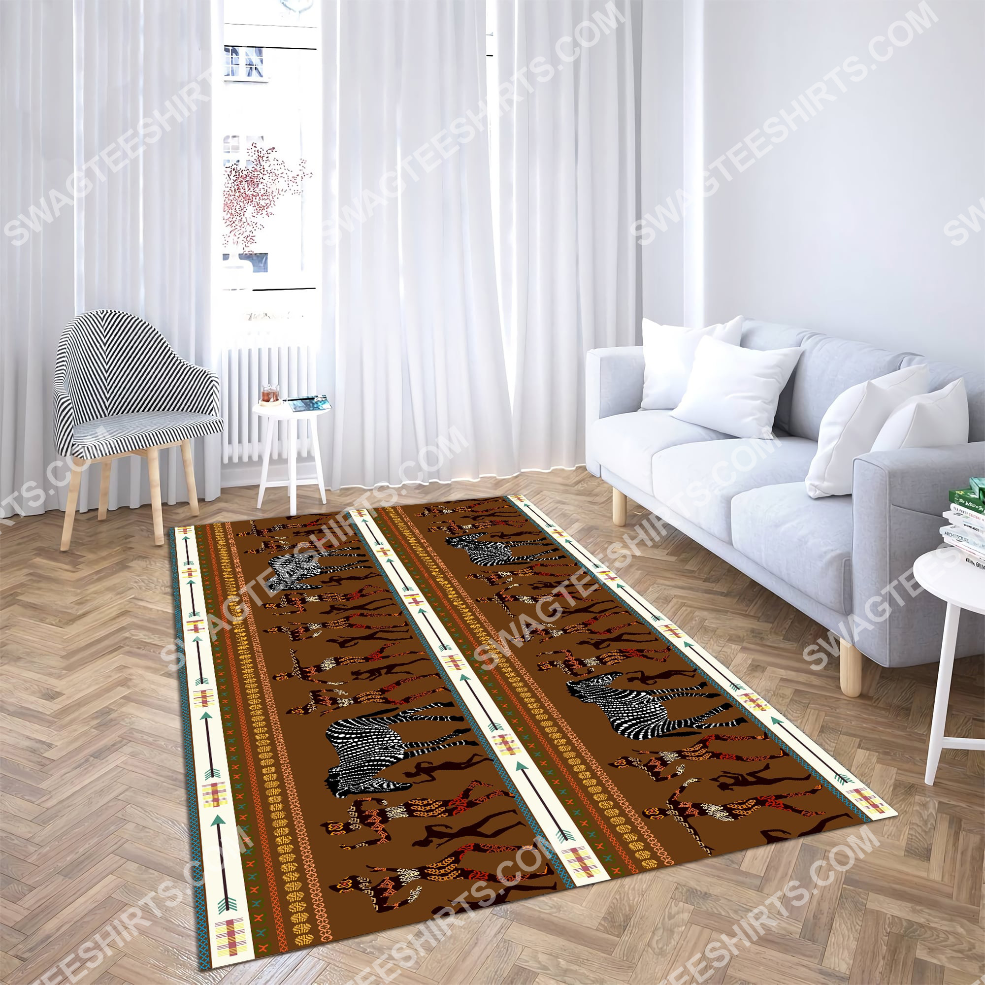 zebra dancing australian culture art all over printed rug 3(1)