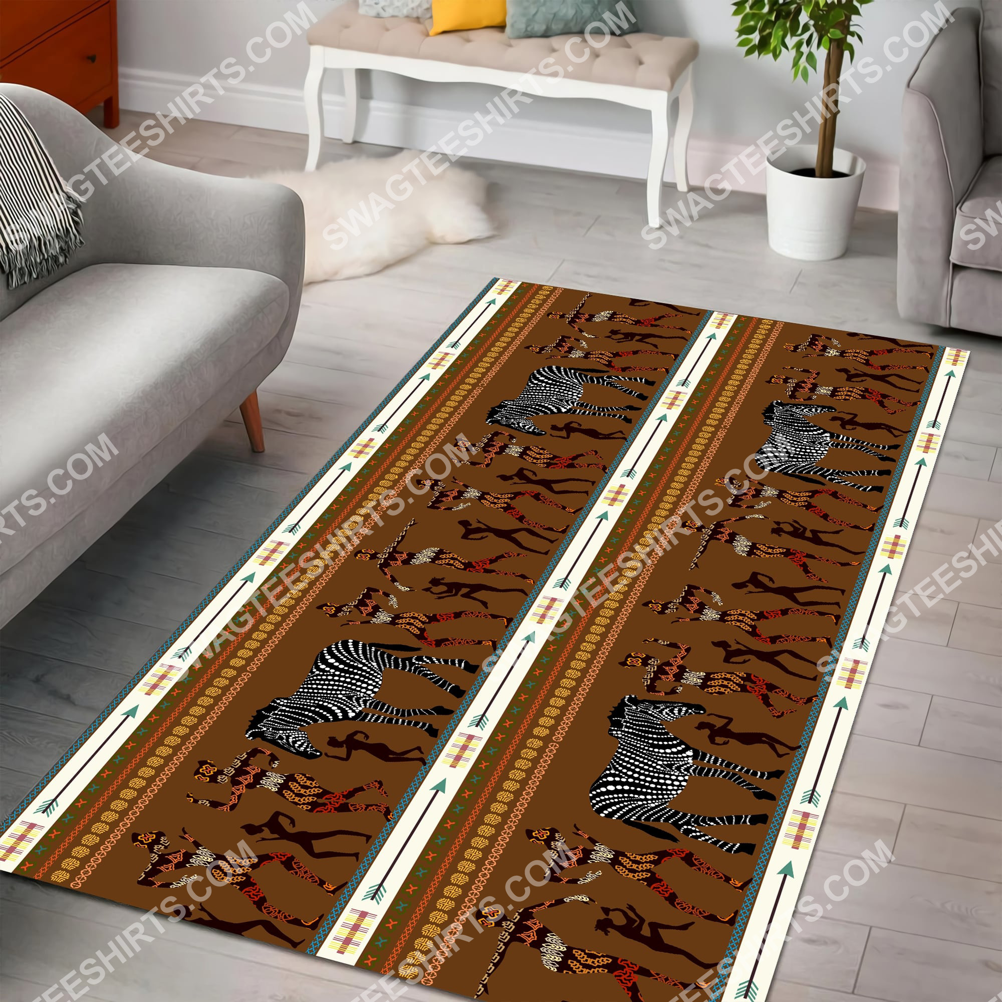 zebra dancing australian culture art all over printed rug 4(1)