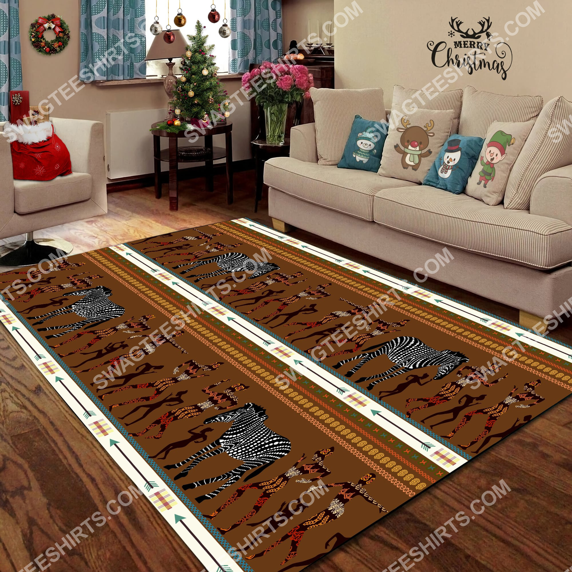 zebra dancing australian culture art all over printed rug 5(1)