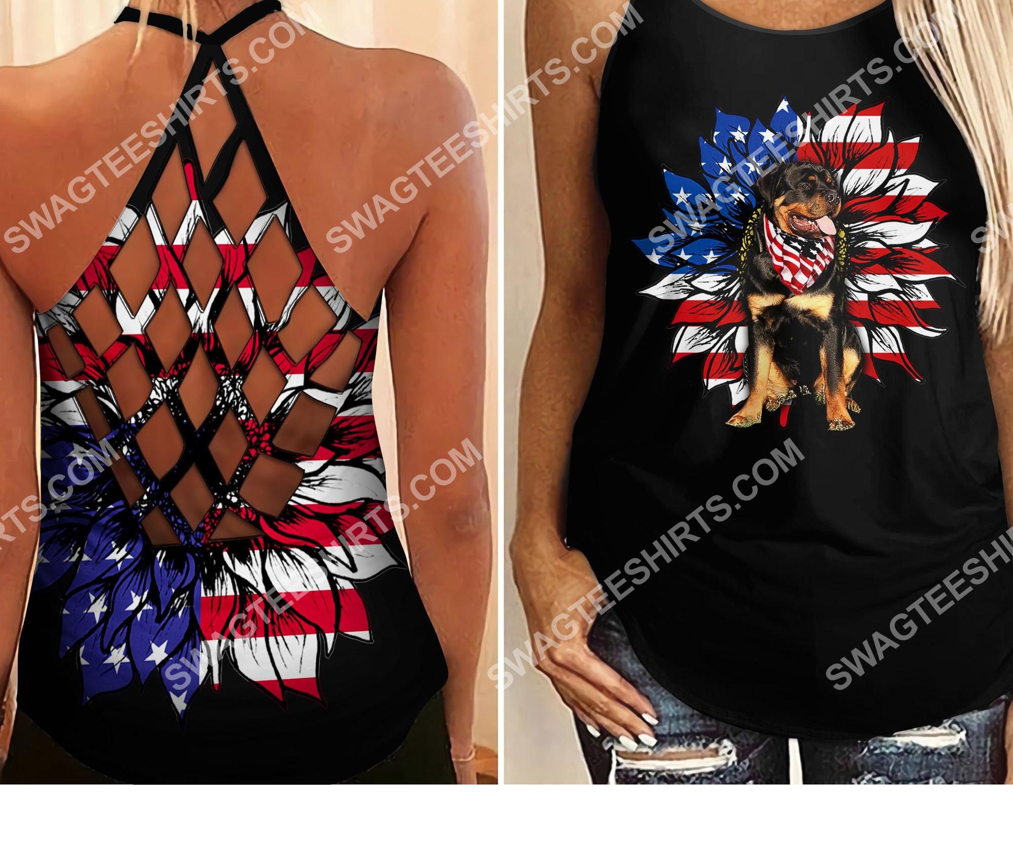 american flag sunflower rottweiler criss-cross tank top 2 - Copy (2)