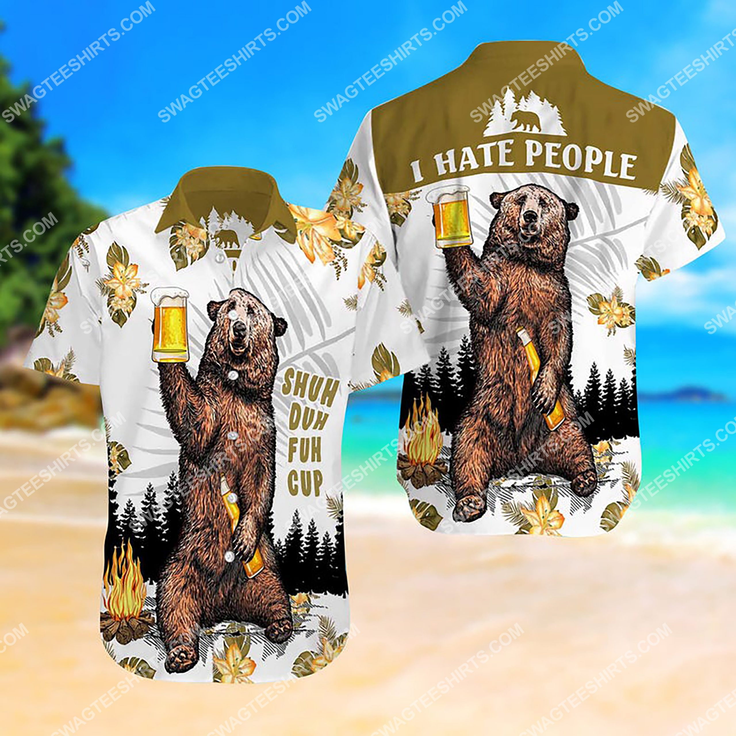 camping bear i hate people all over print hawaiian shirt 2(1)