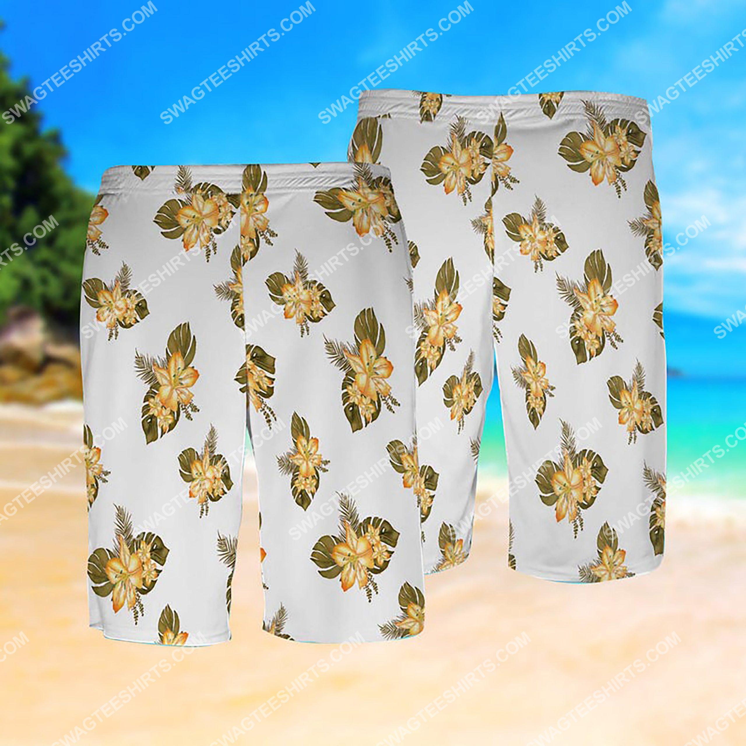 camping bear i hate people all over print hawaiian shorts(1)