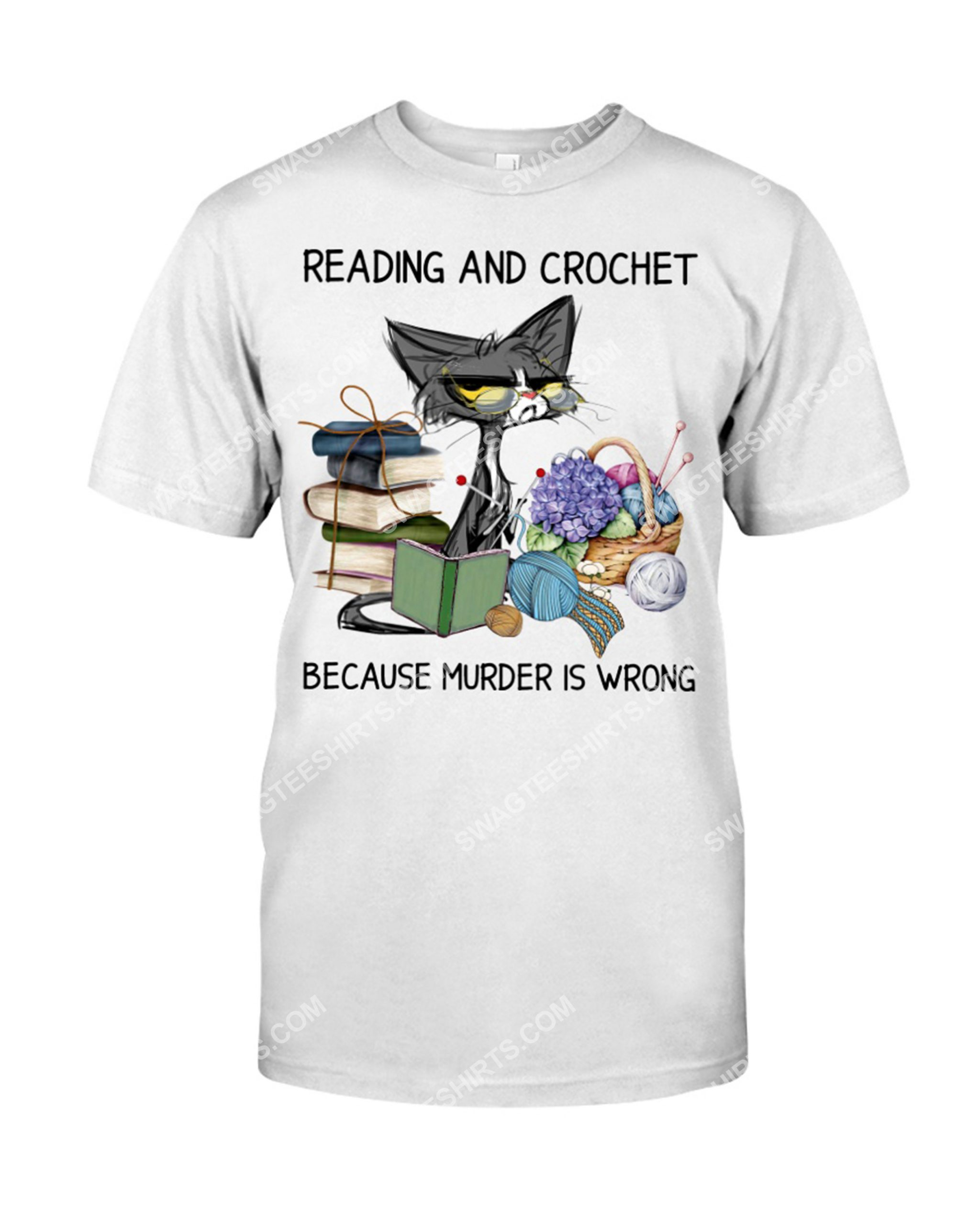 cat reading book and crochet murder is wrong shirt 1(1)