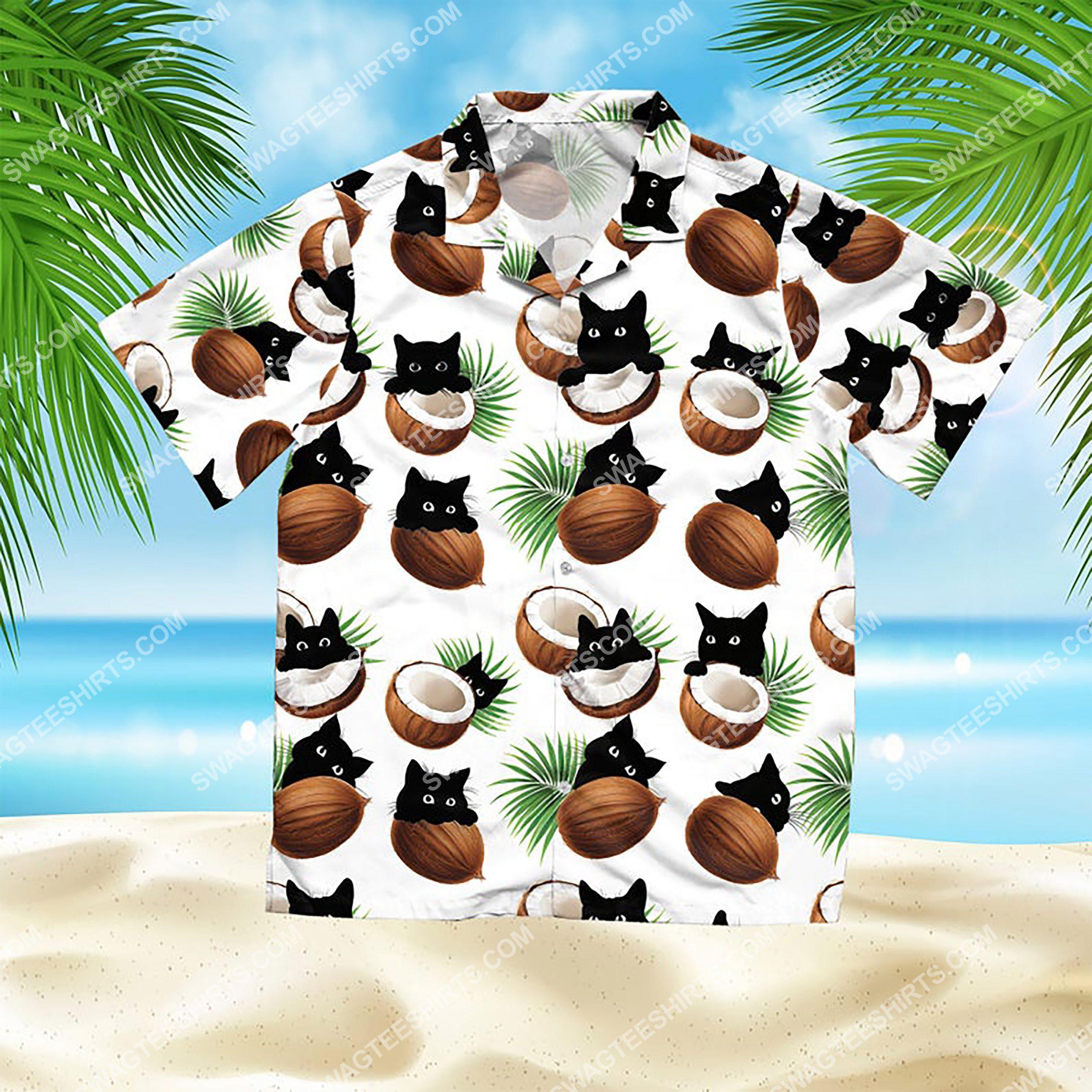 coconut and cat summer vacation all over print hawaiian shirt 2(1)
