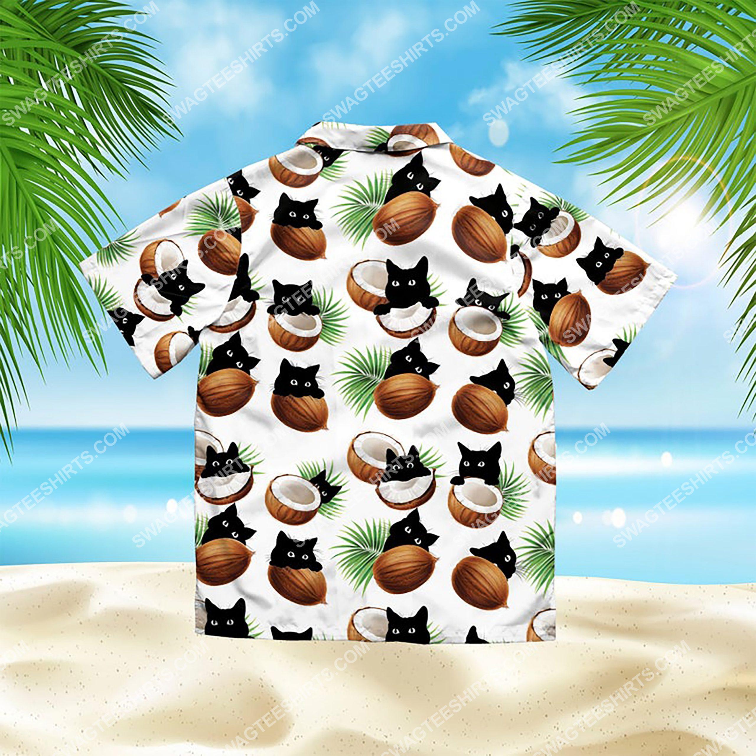 coconut and cat summer vacation all over print hawaiian shirt 3(1)