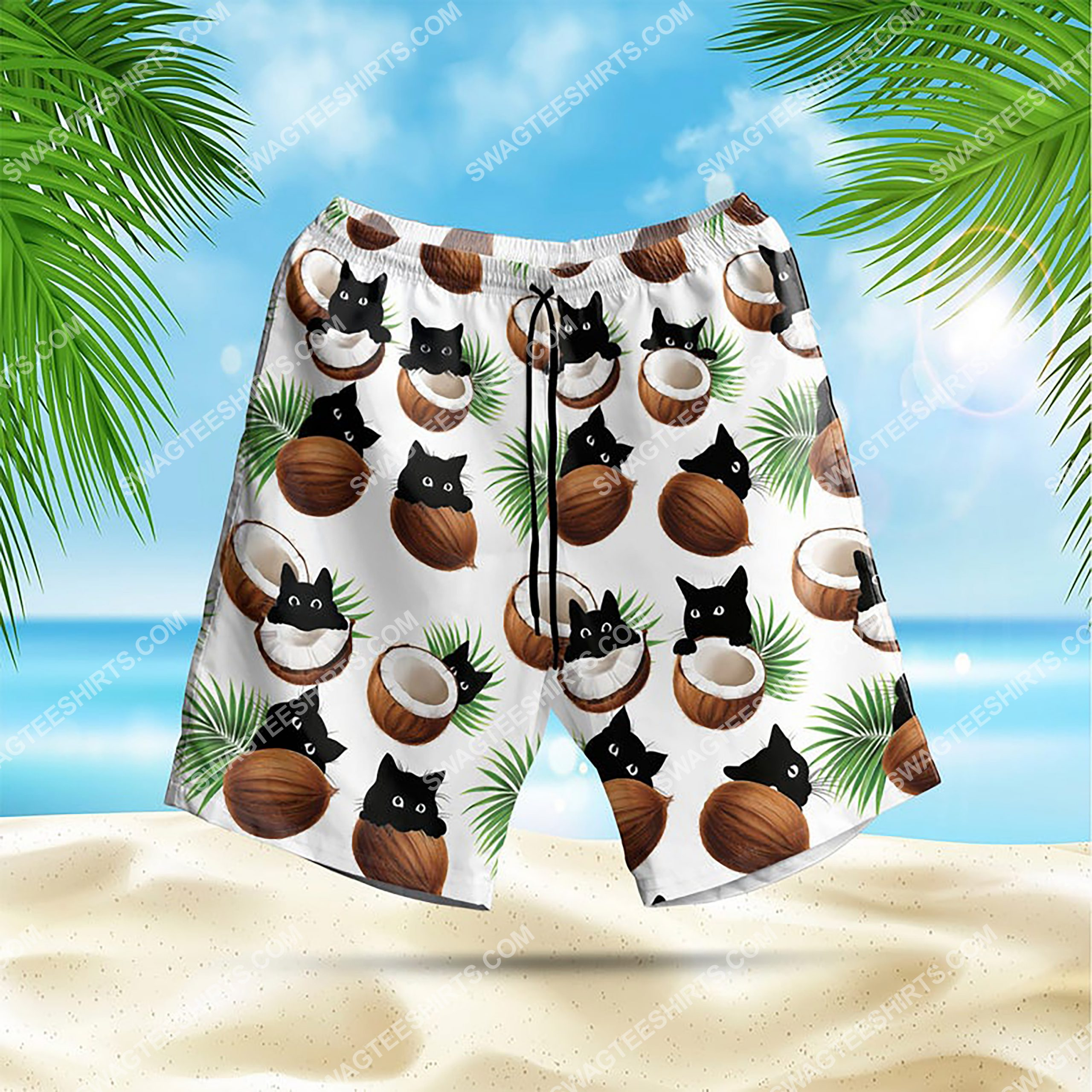 coconut and cat summer vacation all over print hawaiian shorts (1)