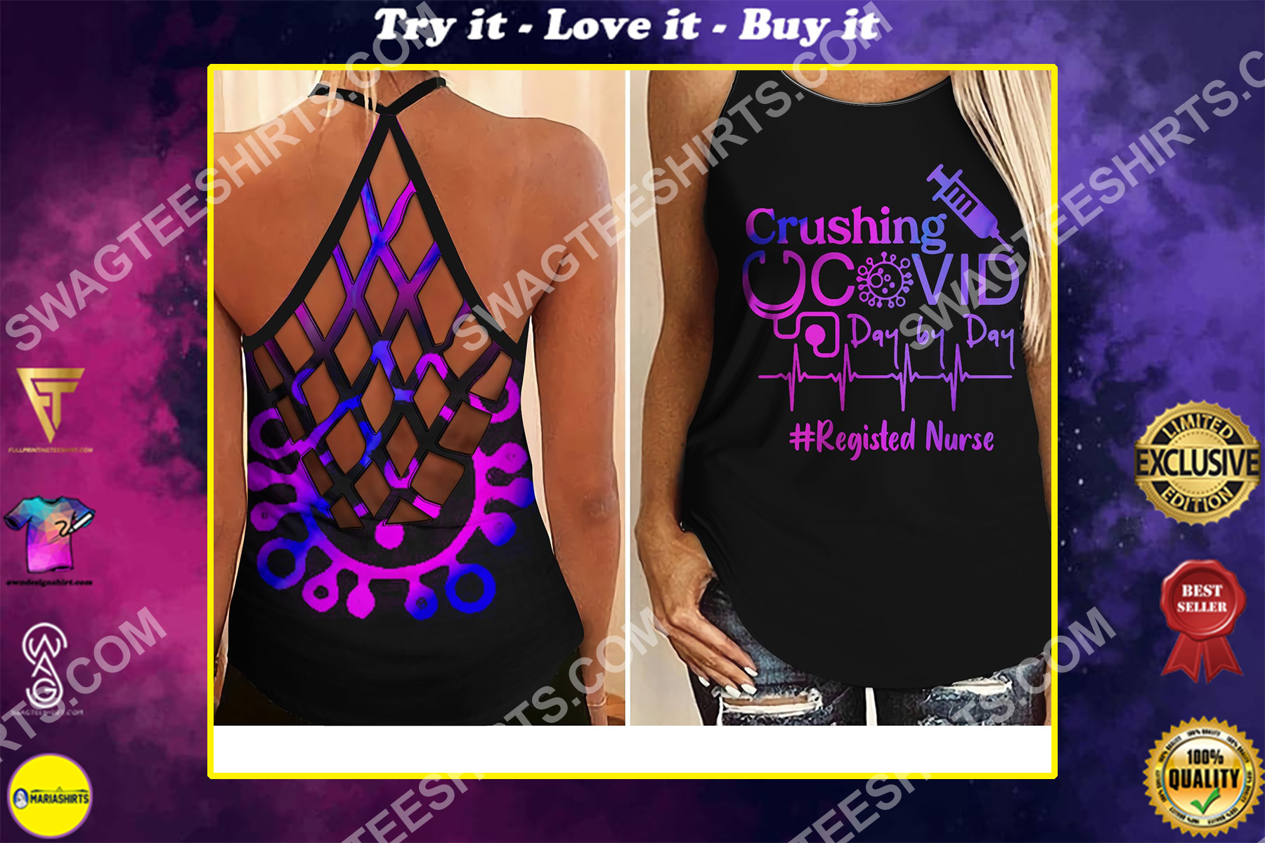 crushing registed nurse day by day all over printed criss-cross tank top