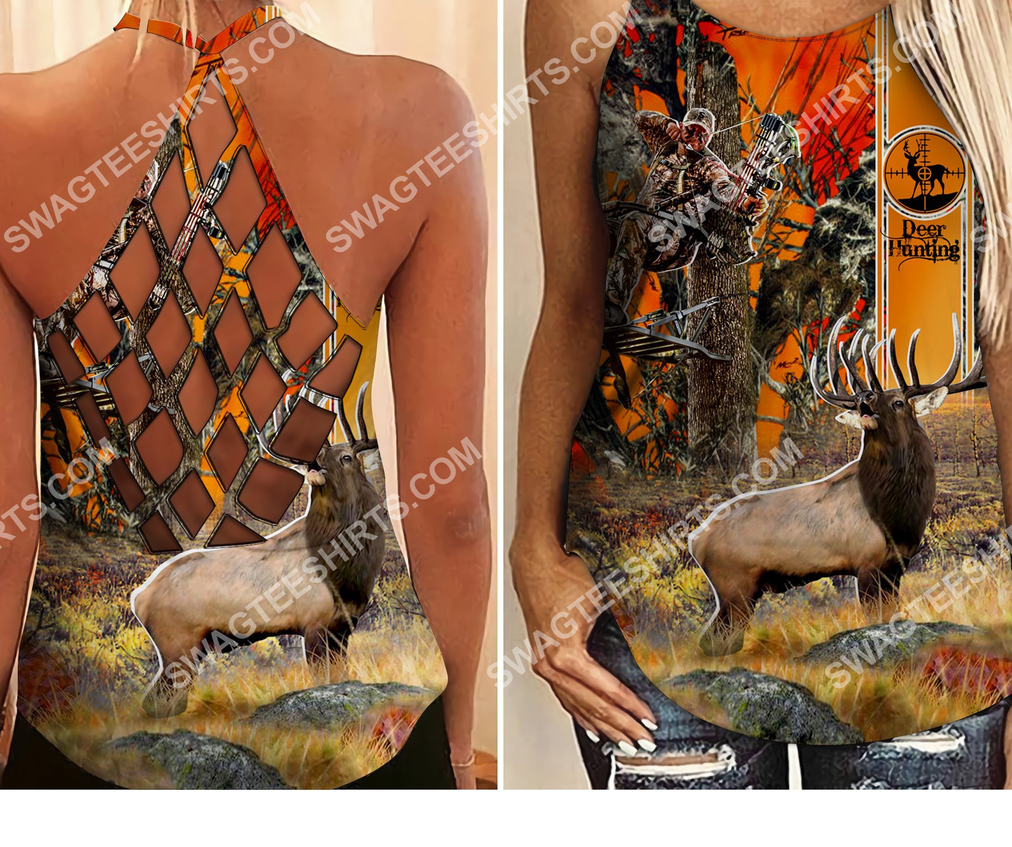 deer hunting in forest all over printed criss-cross tank top 2 - Copy (2)
