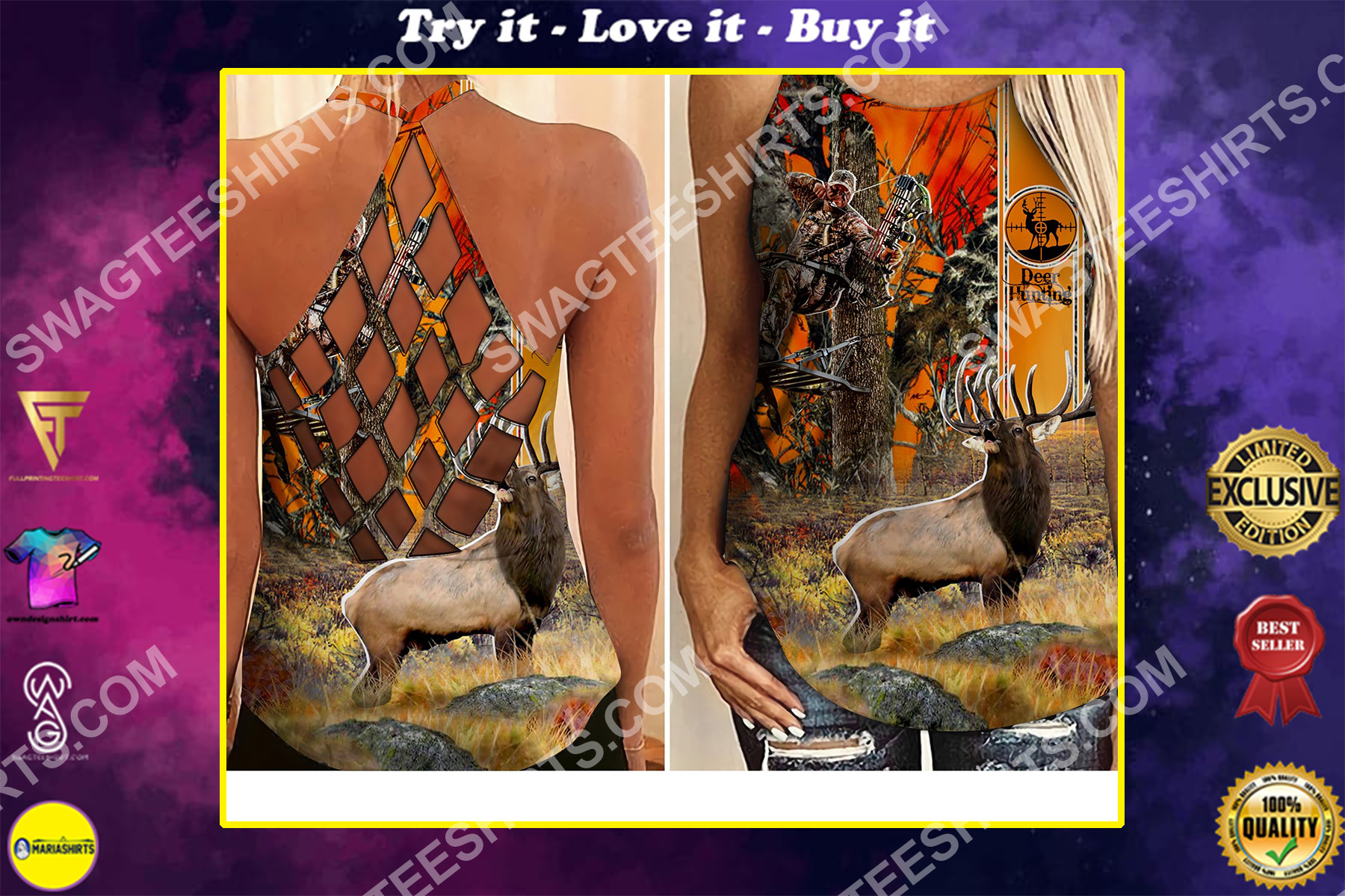 deer hunting in forest all over printed criss-cross tank top