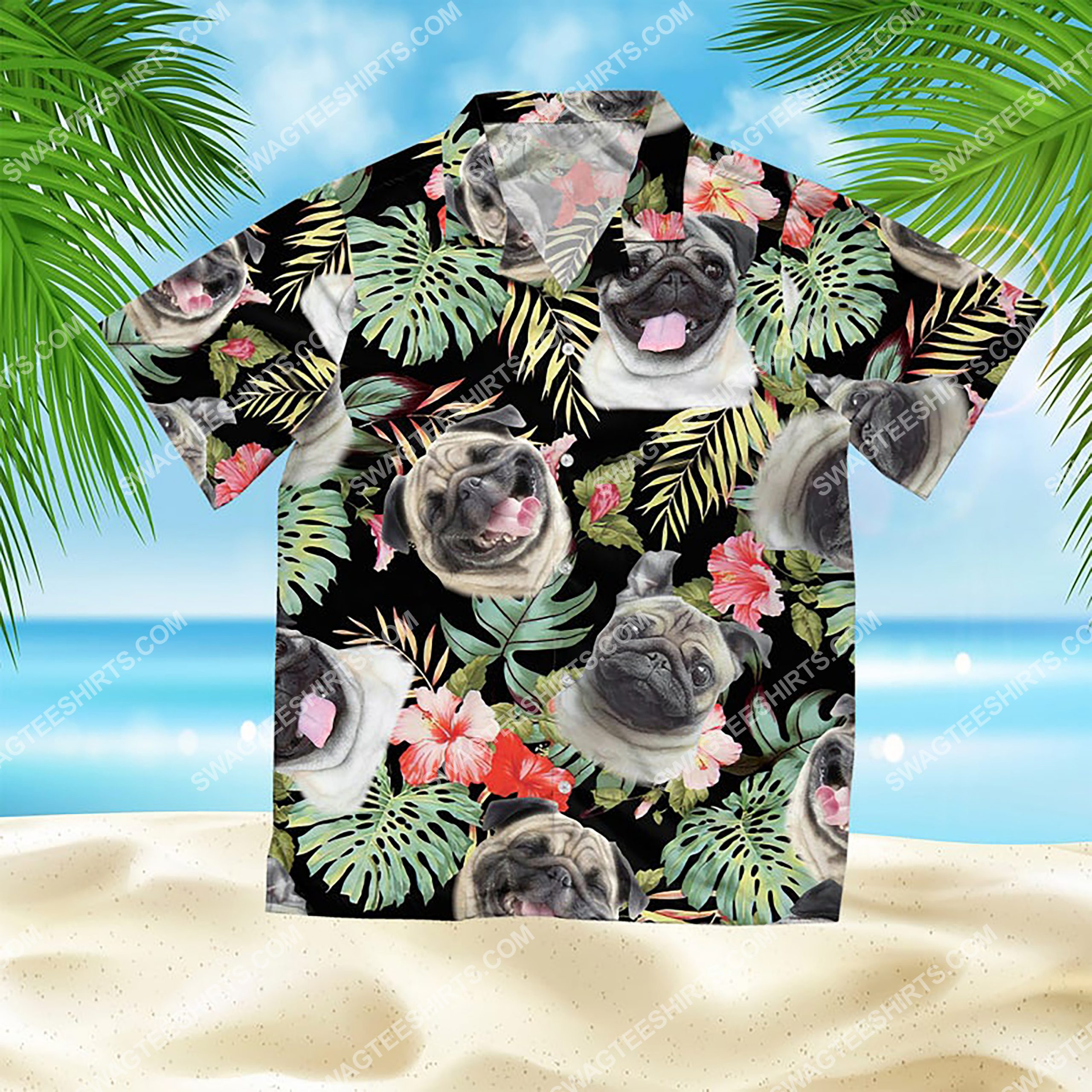dog lover pug summer vacation all over print hawaiian shirt 2(1) - Copy
