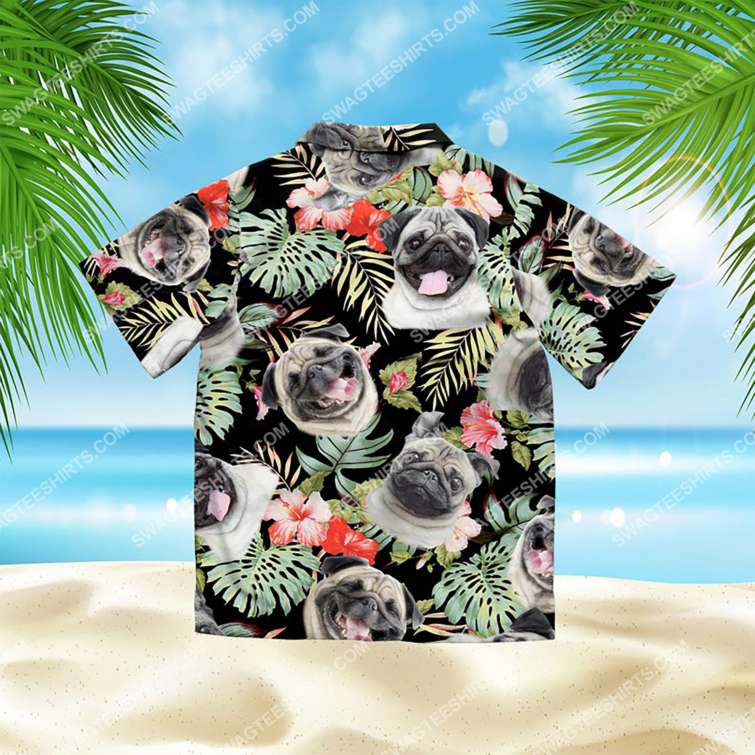 dog lover pug summer vacation all over print hawaiian shirt 3(1)