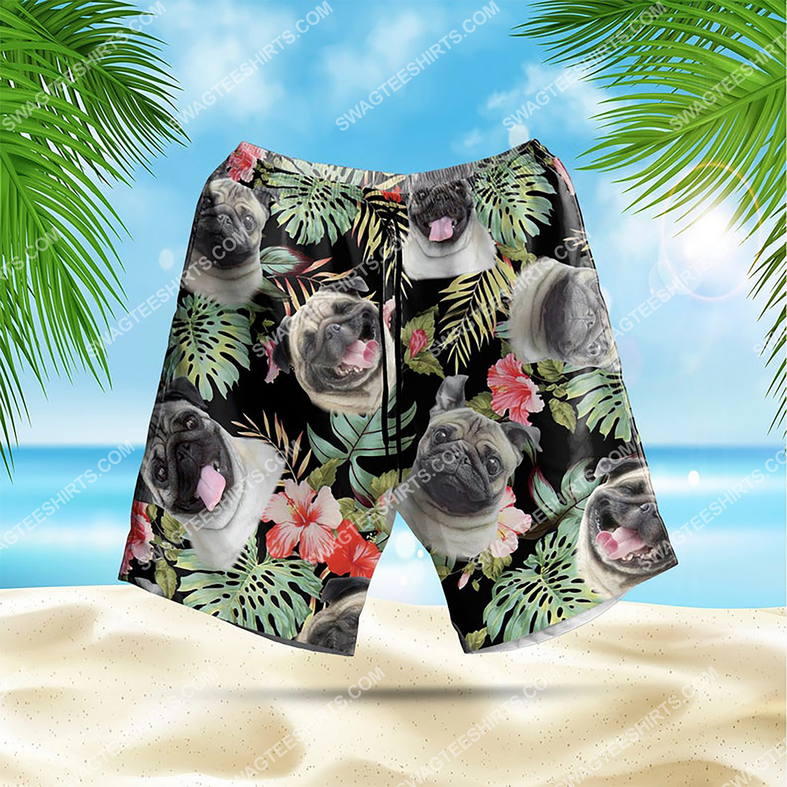 dog lover pug summer vacation all over print hawaiian shorts 1