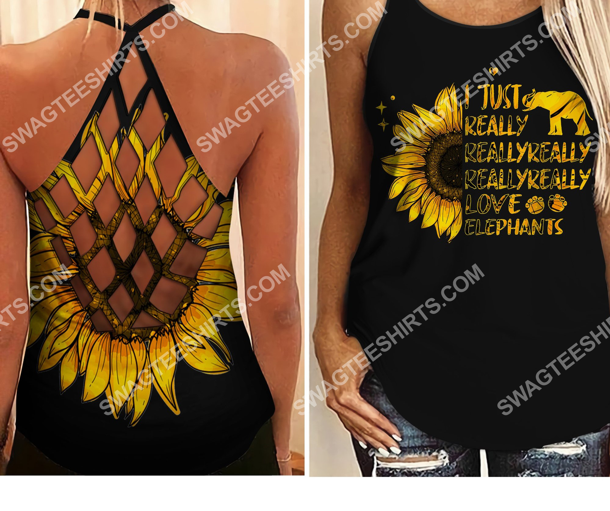elephants sunflower i just really really really wanna to go criss-cross tank top 2