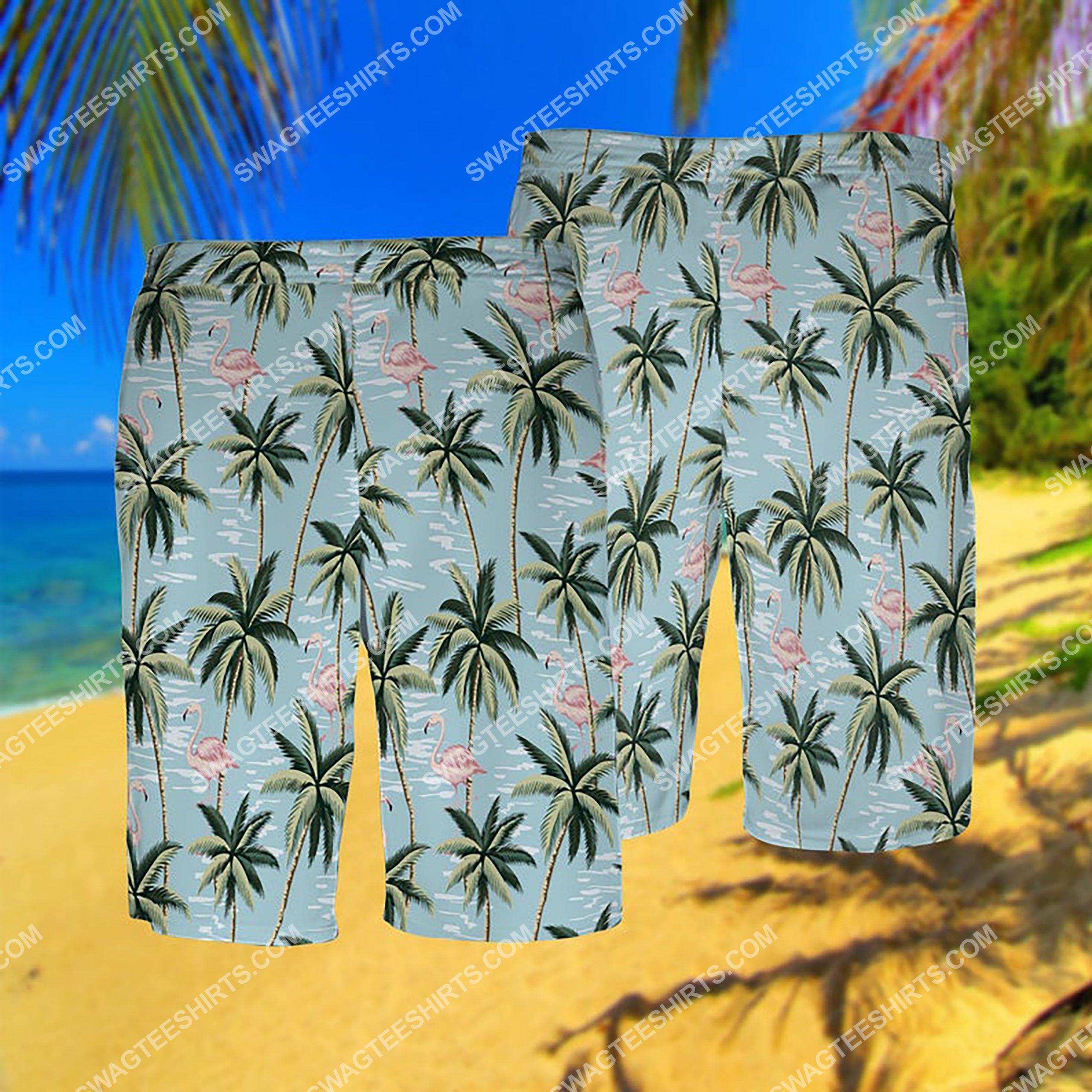 flamingo and palm tree all over print hawaiian shorts 1