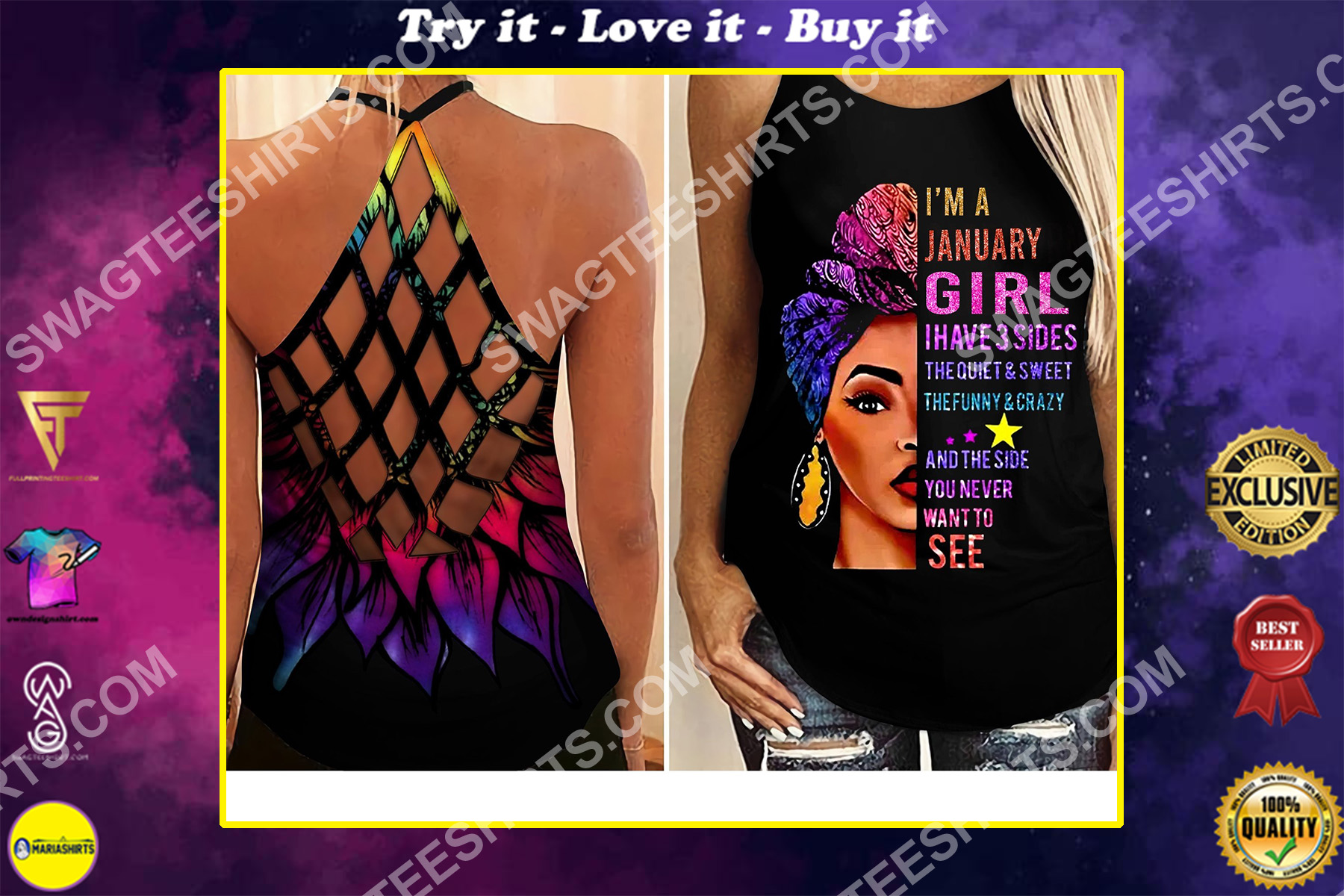i'm a january girl i have 3 sides the quiet and sweet all over printed criss-cross tank top
