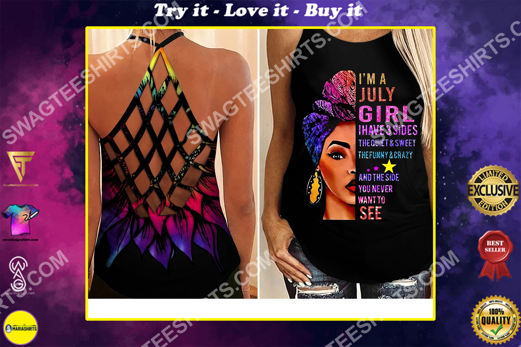 i'm a july girl i have 3 sides the quiet and sweet all over printed criss-cross tank top