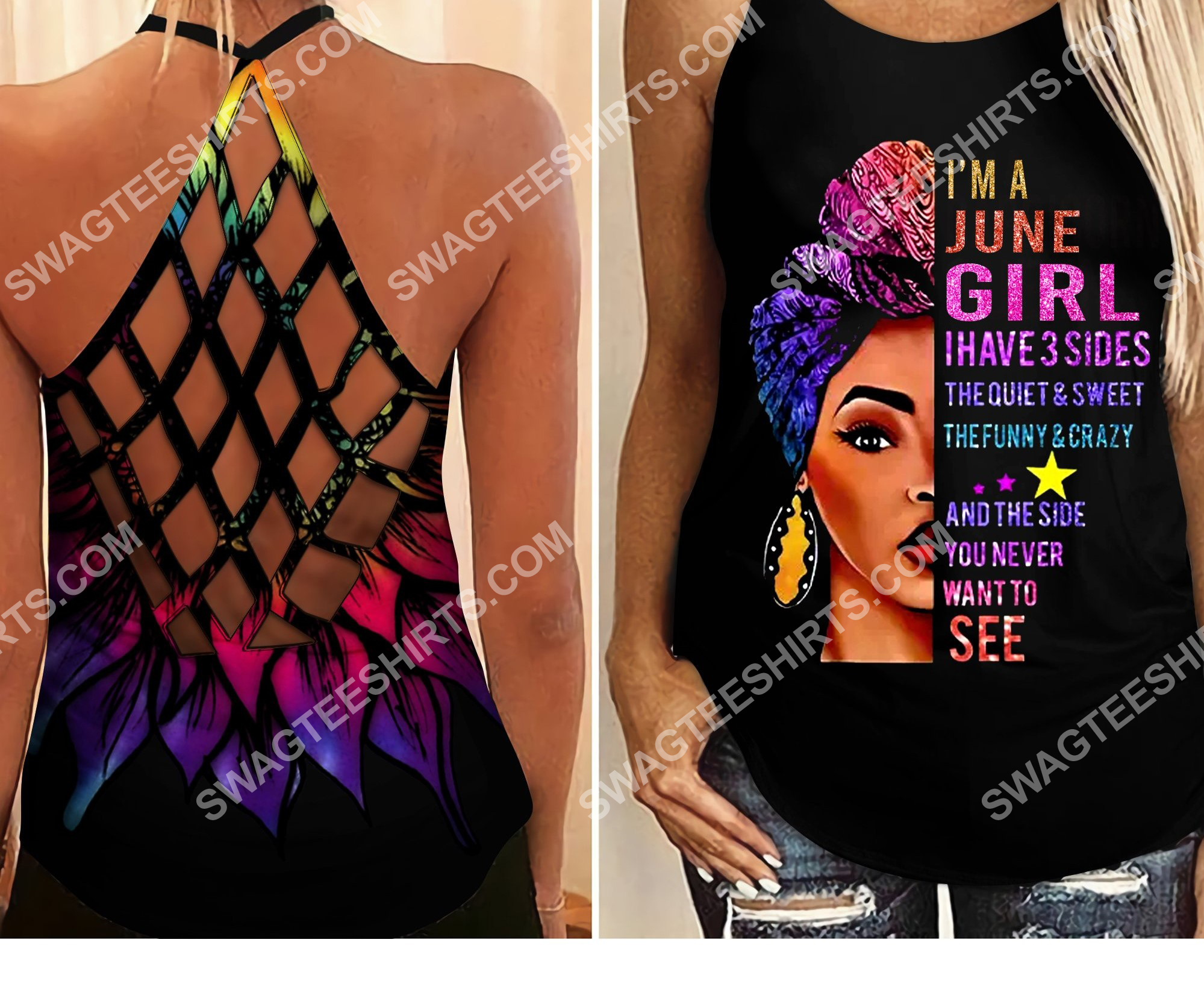 i'm a june girl i have 3 sides the quiet and sweet all over printed criss-cross tank top 2