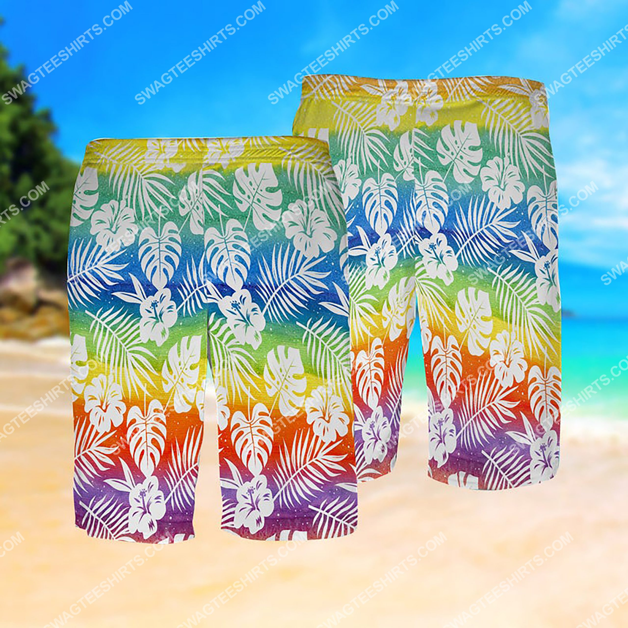 lgbt summer vacation all over print hawaiian shorts 1